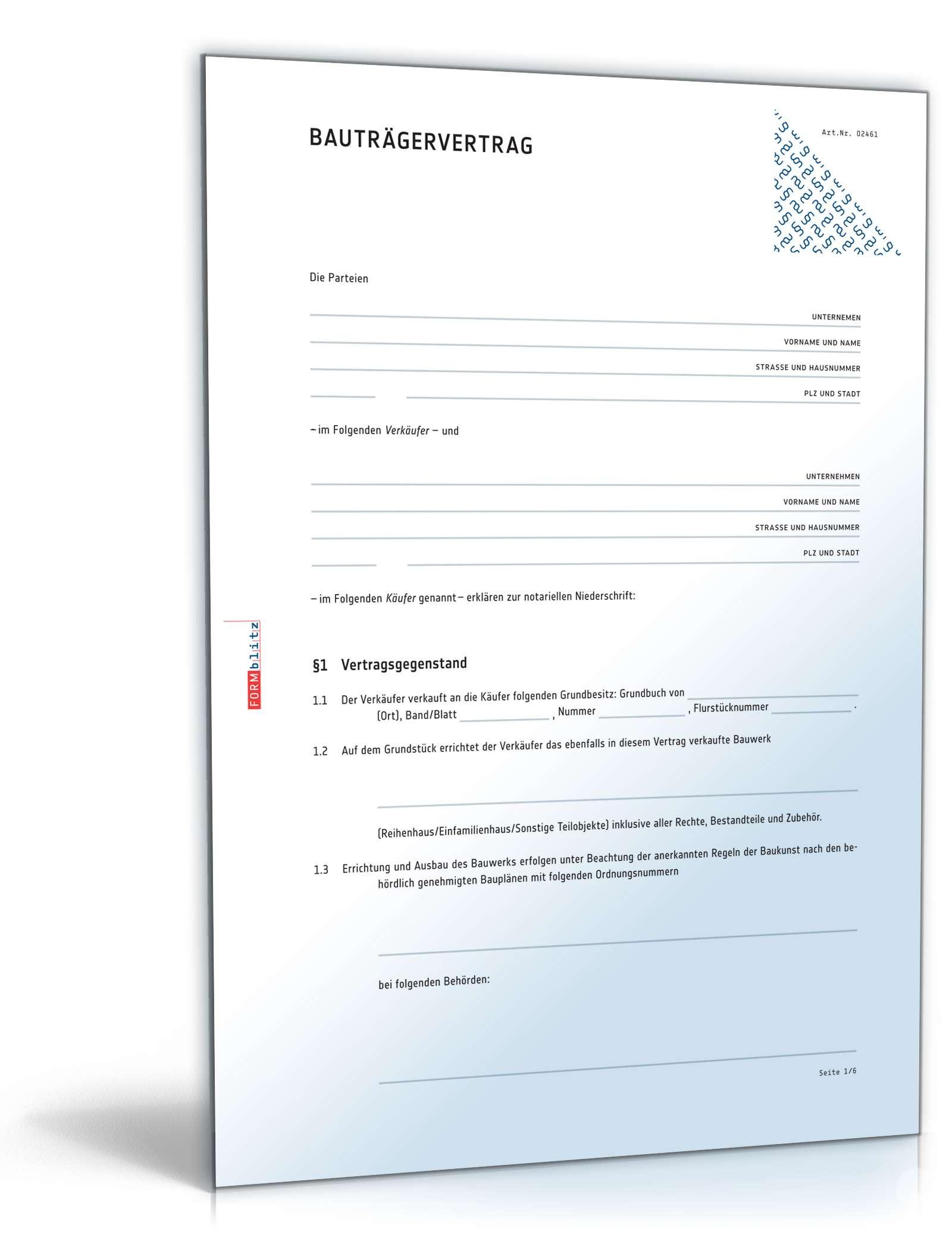 Bauträgervertrag Vorlage Zum Download