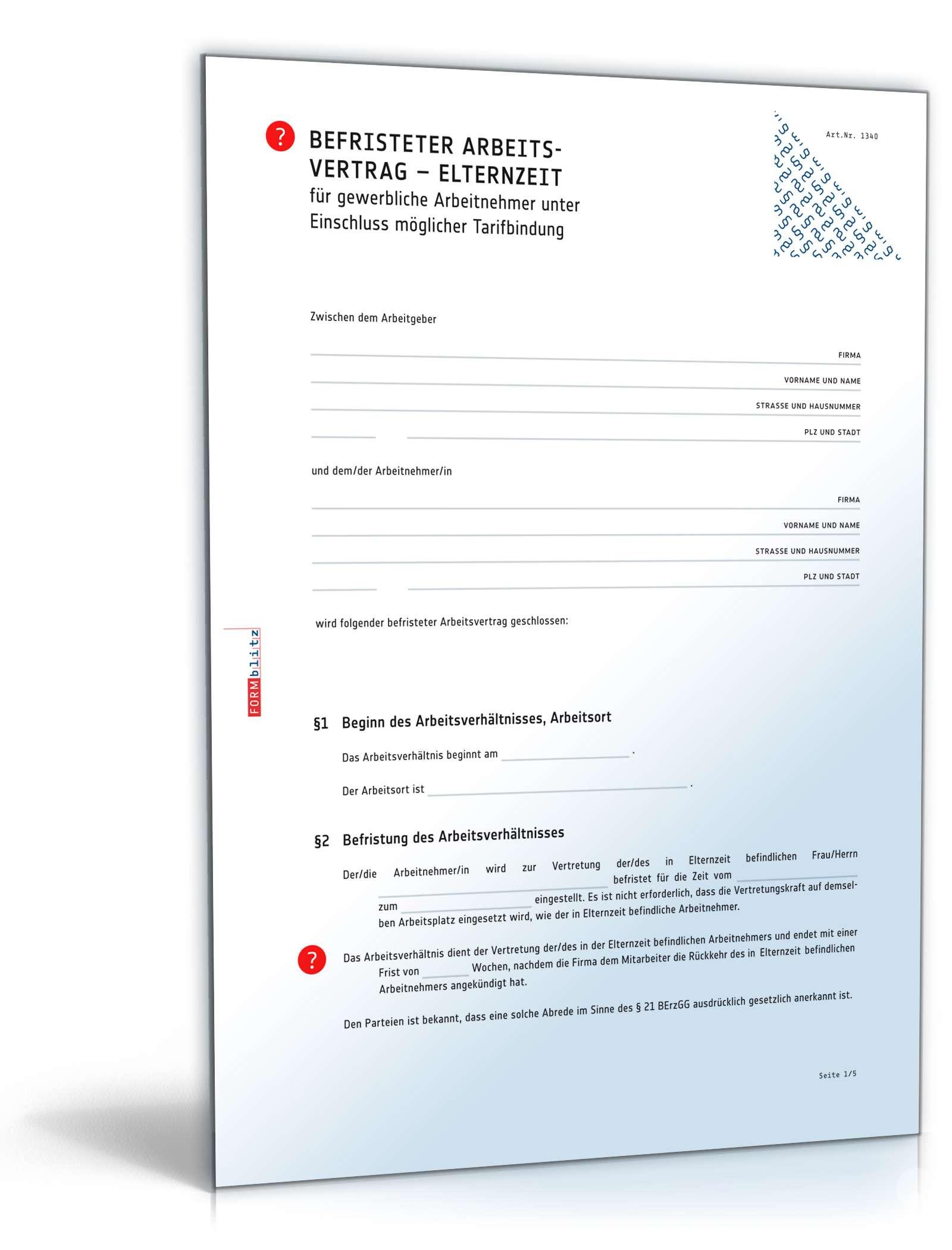 Befristeter Arbeitsvertrag Elternzeit Mit Tarif Muster Zum Download