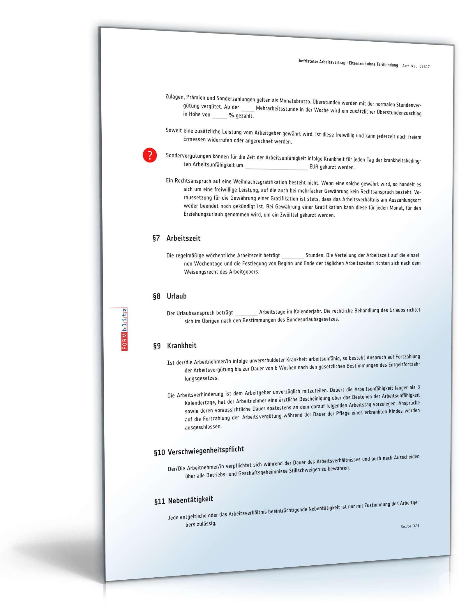 befristeter arbeitsvertrag elternzeit muster - Antrag Nebenttigkeit Muster