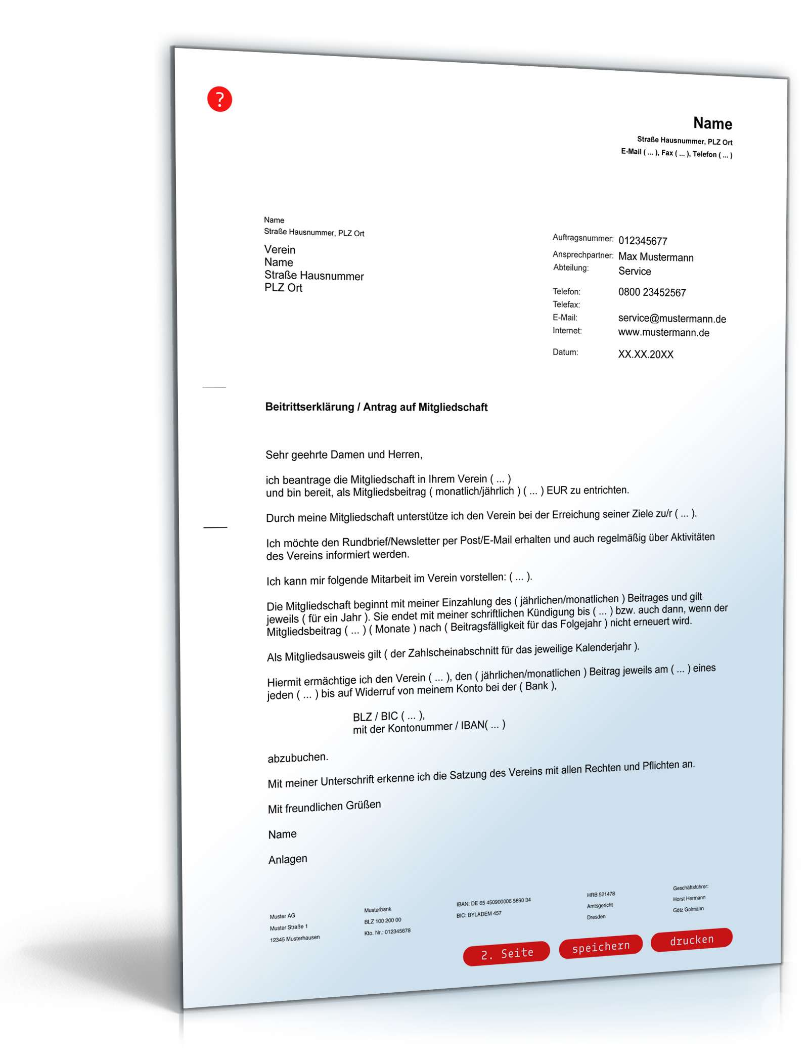 Beitrittserklärung Verein / Antrag Mitgliedschaft: Muster zum Download