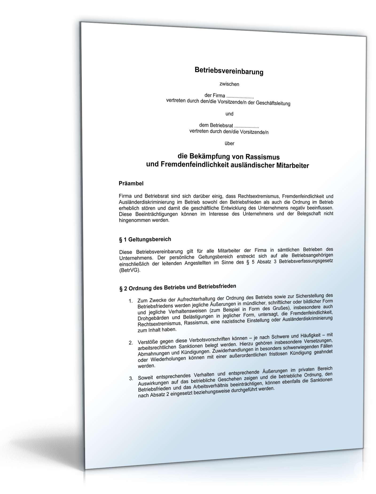 Betriebsvereinbarung Bekämpfung Rassismus Muster Vorlage Zum Download
