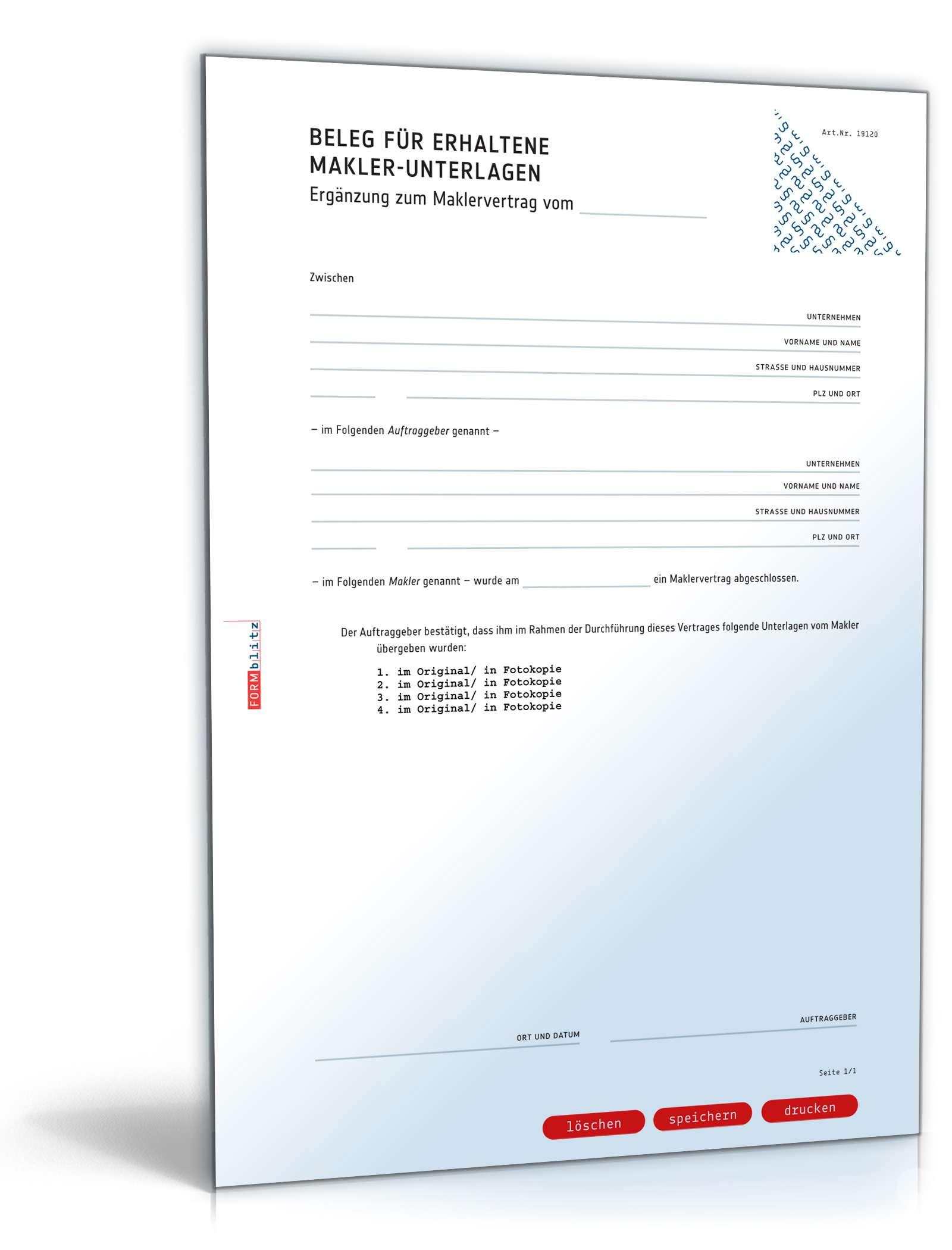 Quittung Maklerunterlagen | Vorlage zum Download
