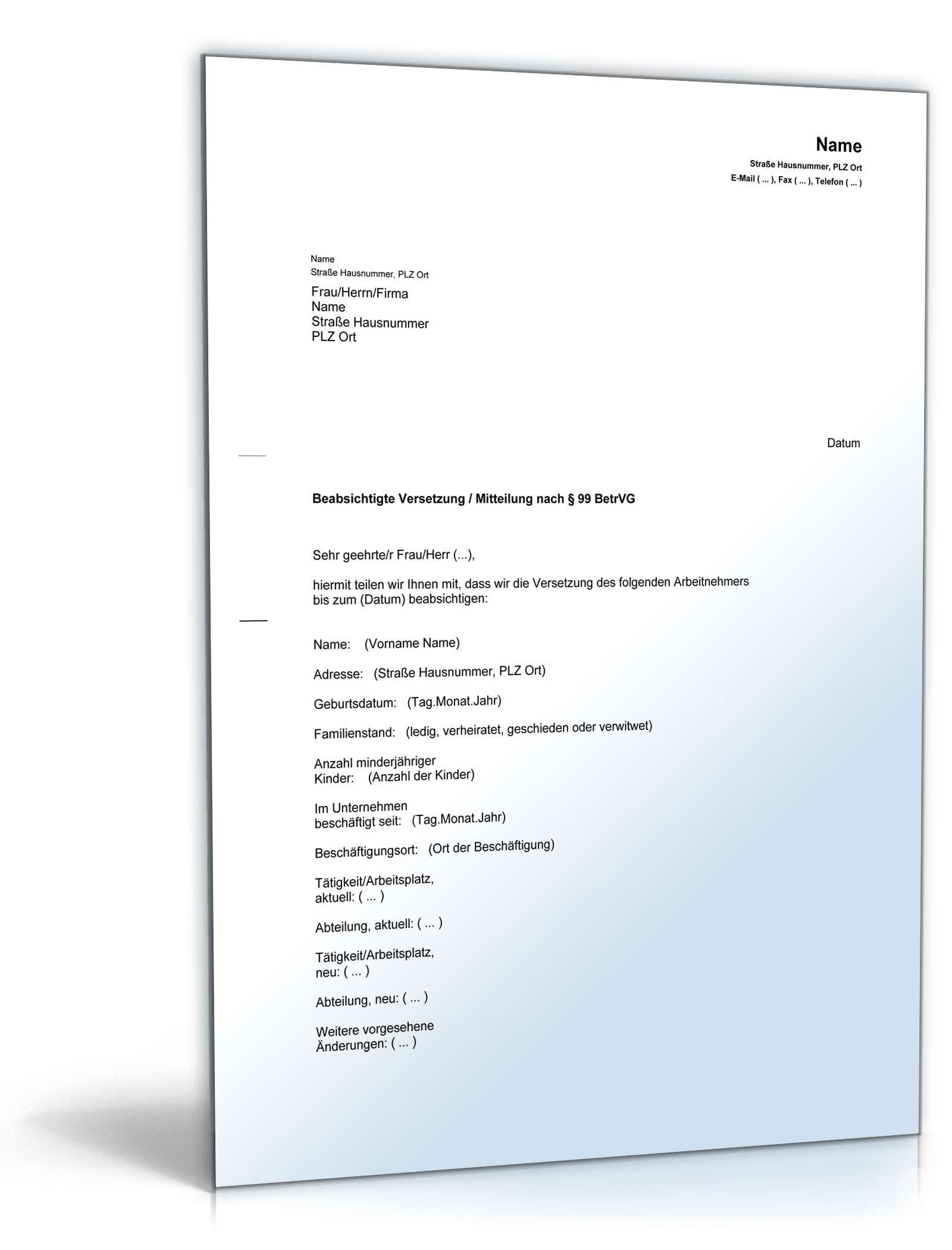 Benachrichtigung Versetzung Mitarbeiter | Muster zum Download
