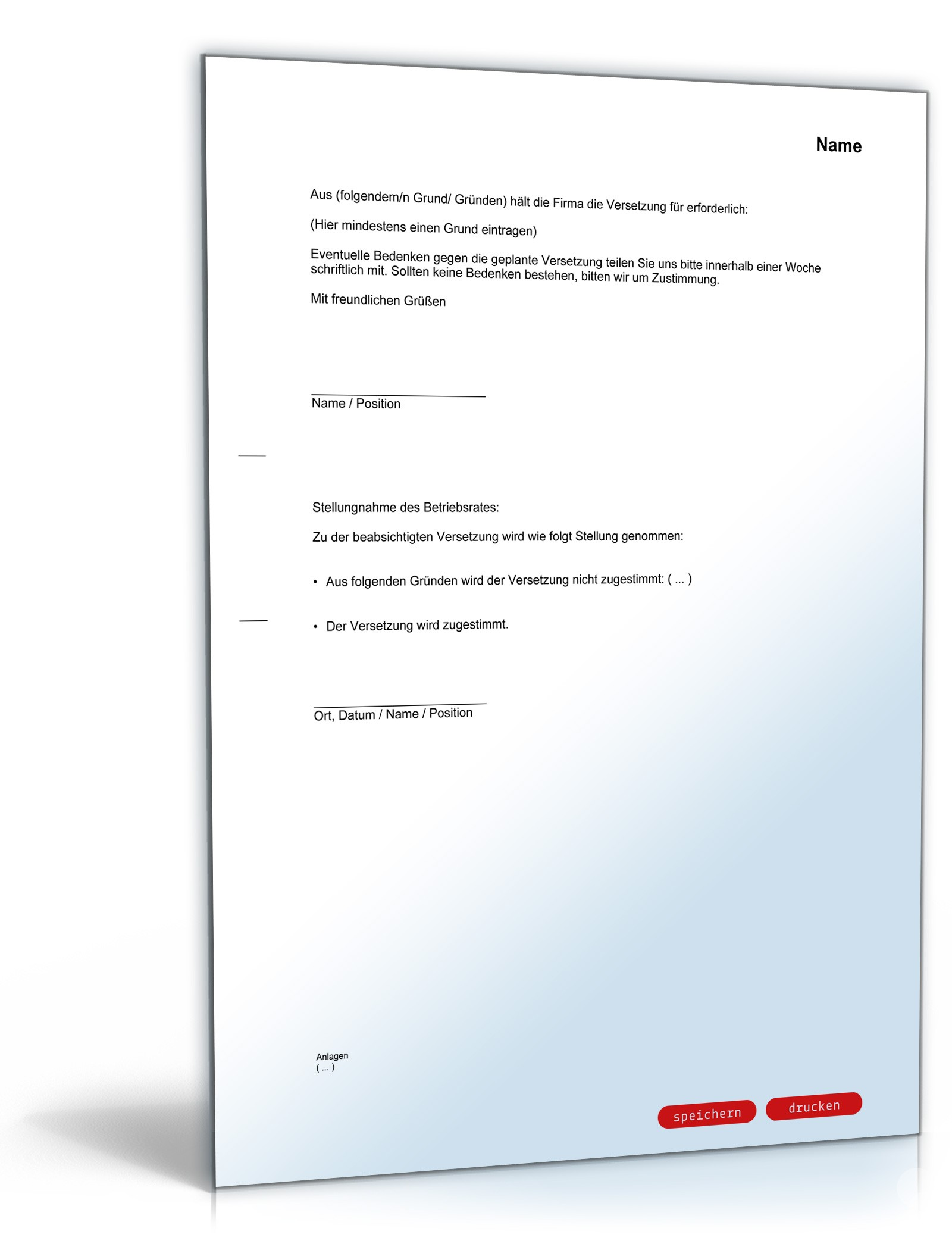Benachrichtigung Versetzung Mitarbeiter Muster Zum Download