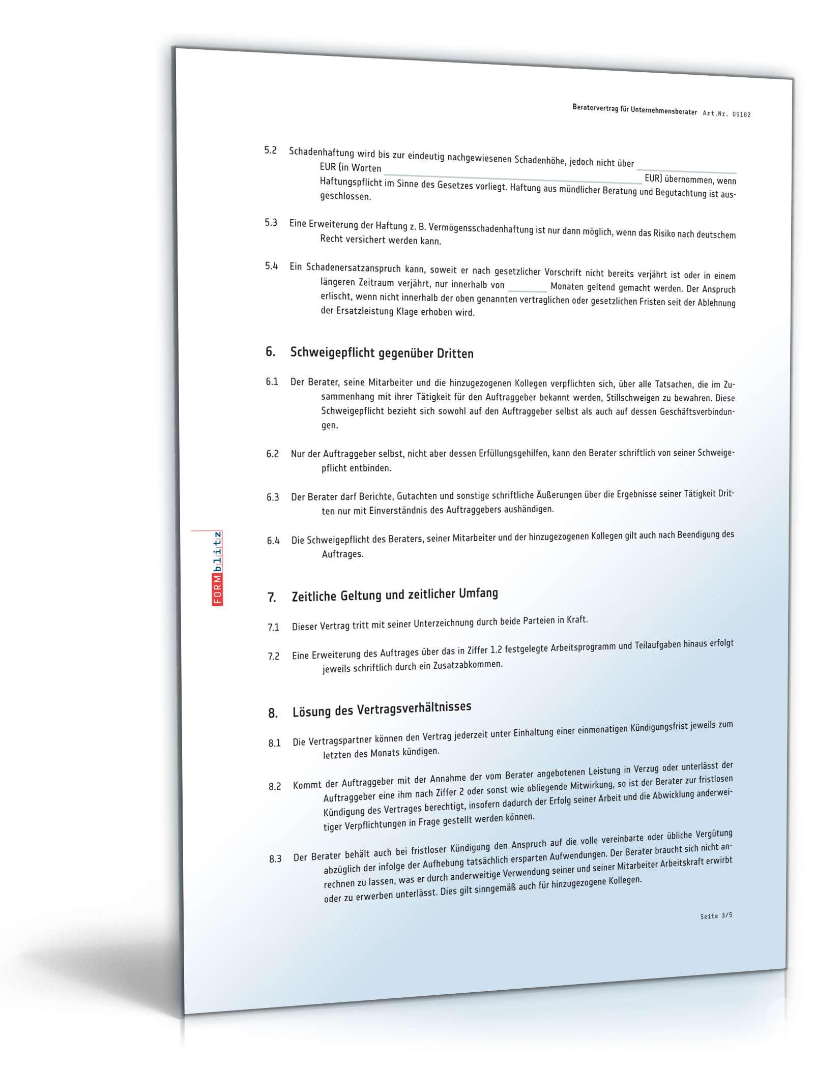 Beratervertrag Unternehmensberater Vorlage Zum Download