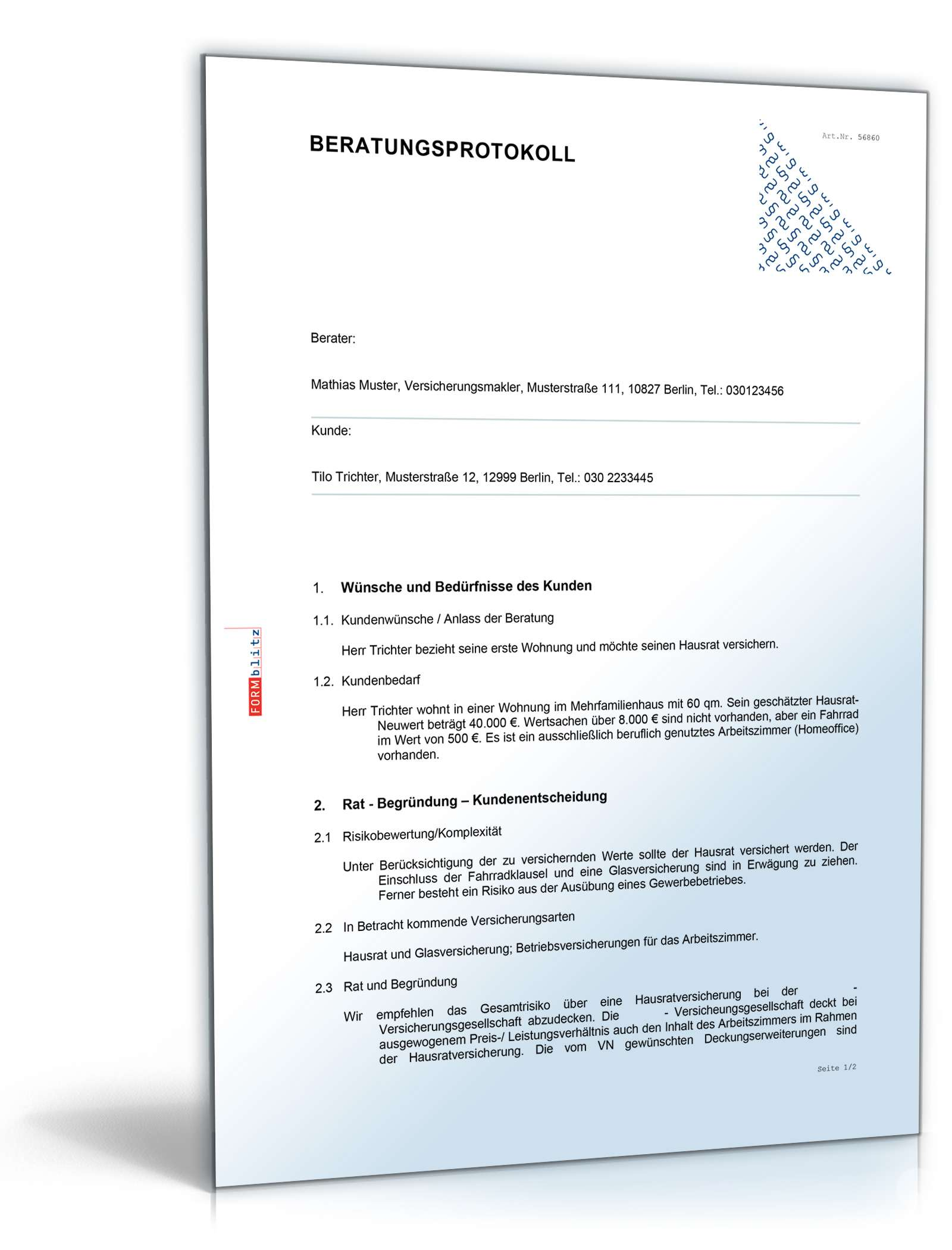 Beratungsprotokoll Versicherungsvermittlung   Muster zum Download