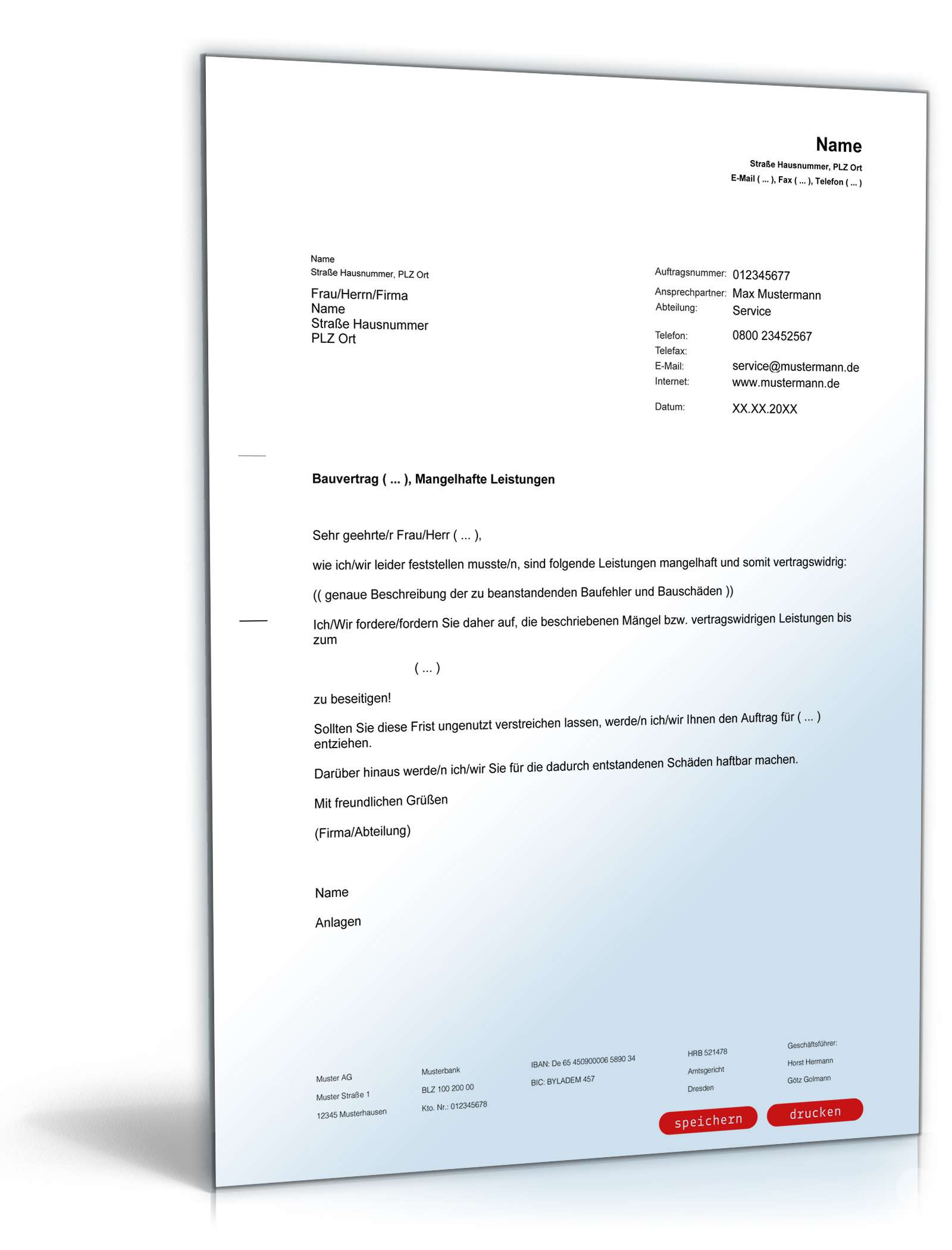 Beschwerde an Architekt, Baumängel   Muster zum Download
