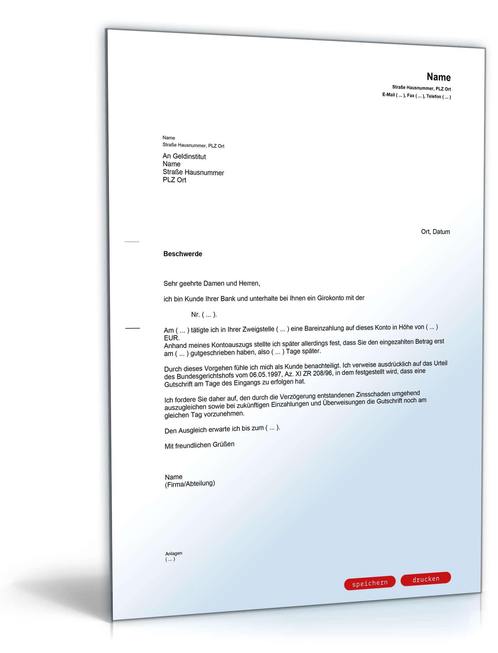 Beschwerde bei Bank (verspätete Gutschrift) - Muster-Vorlage zum ...
