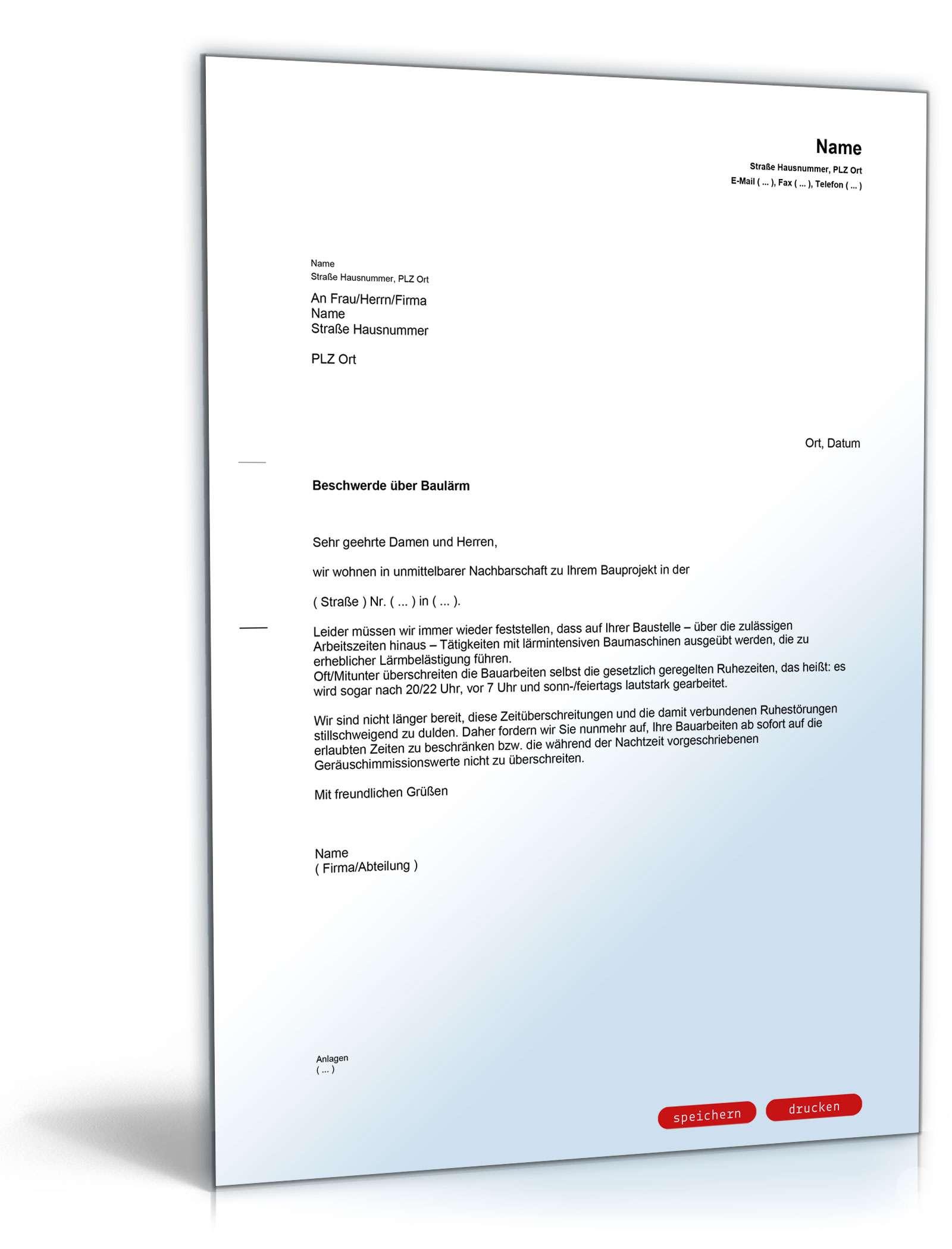 Beschwerde über Baulärm (an Bauherren) | Muster zum Download