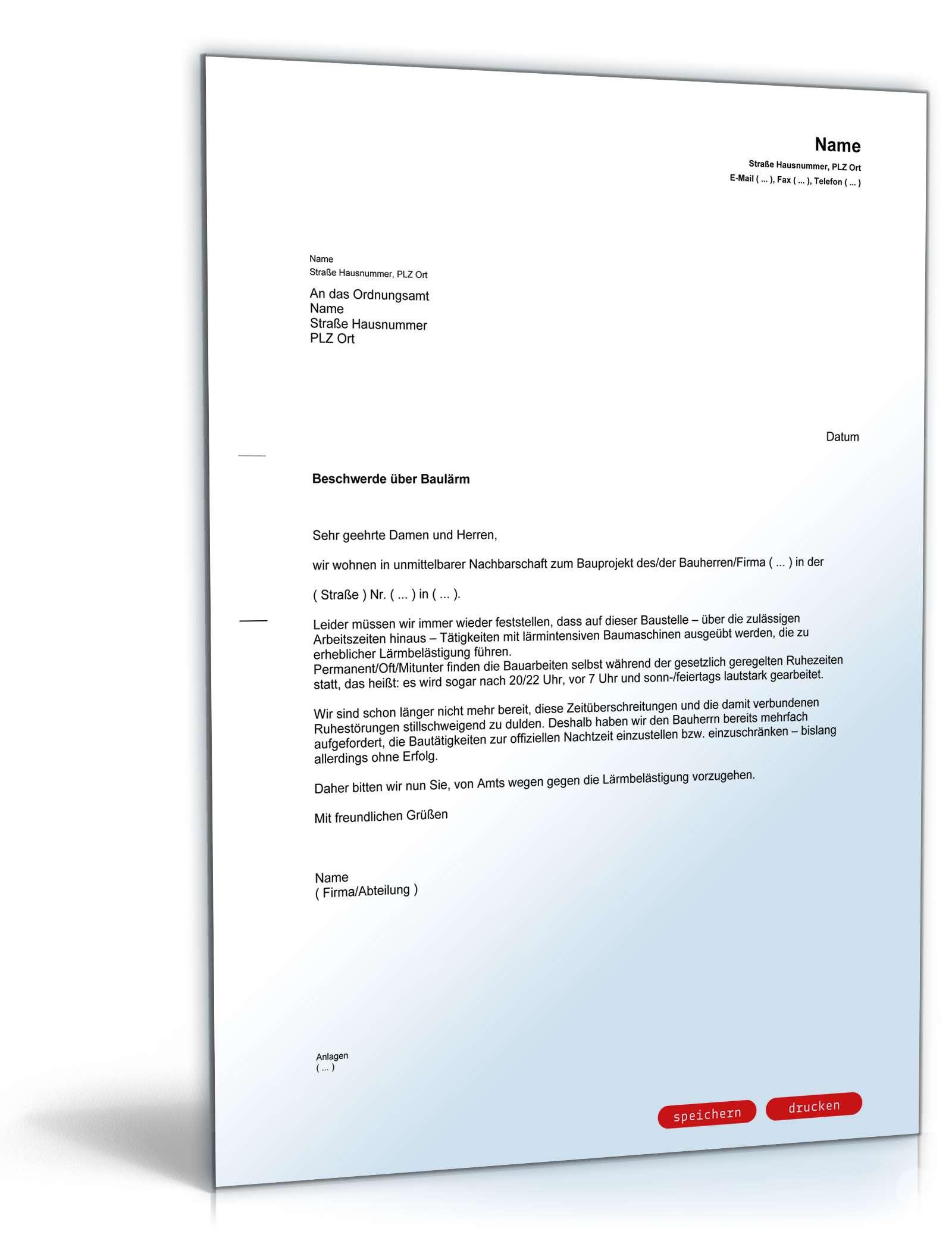Beschwerde über Baulärm Beim Ordnungsamt Muster Vorlage Zum Download