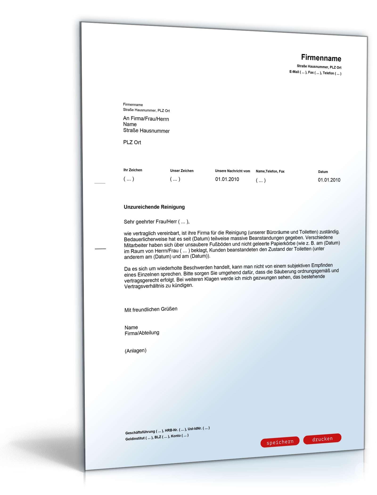 Beanstandung An Eine Reinigungsfirma Muster Vorlage Zum Download