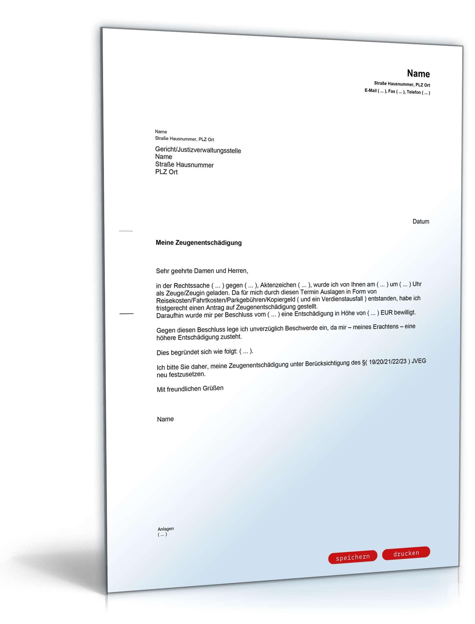 Beschwerde über Zeugenentschädigung - Muster-Vorlage zum Download