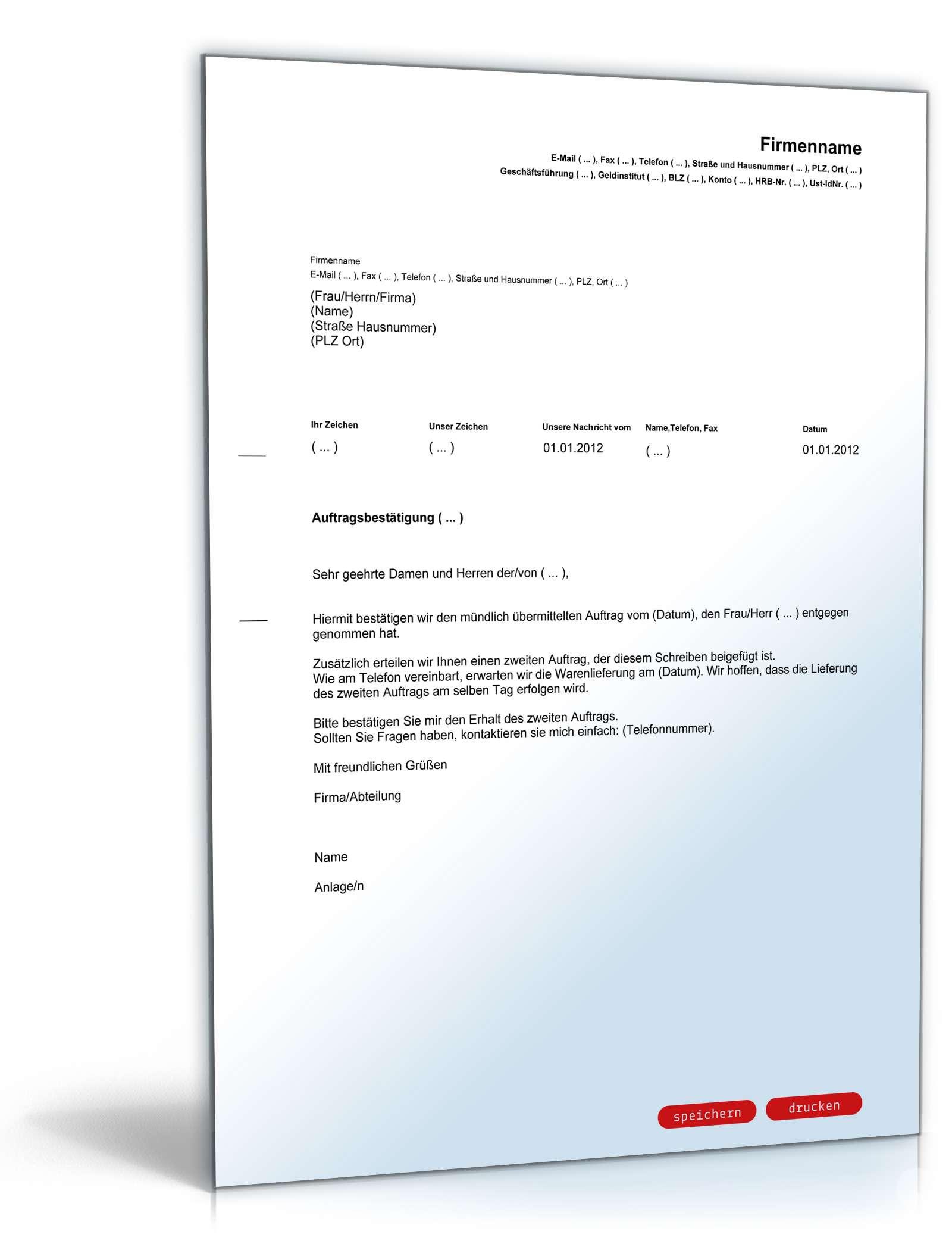 Auftragsbestätigung Englischdeutsch Vorlage Zum Download