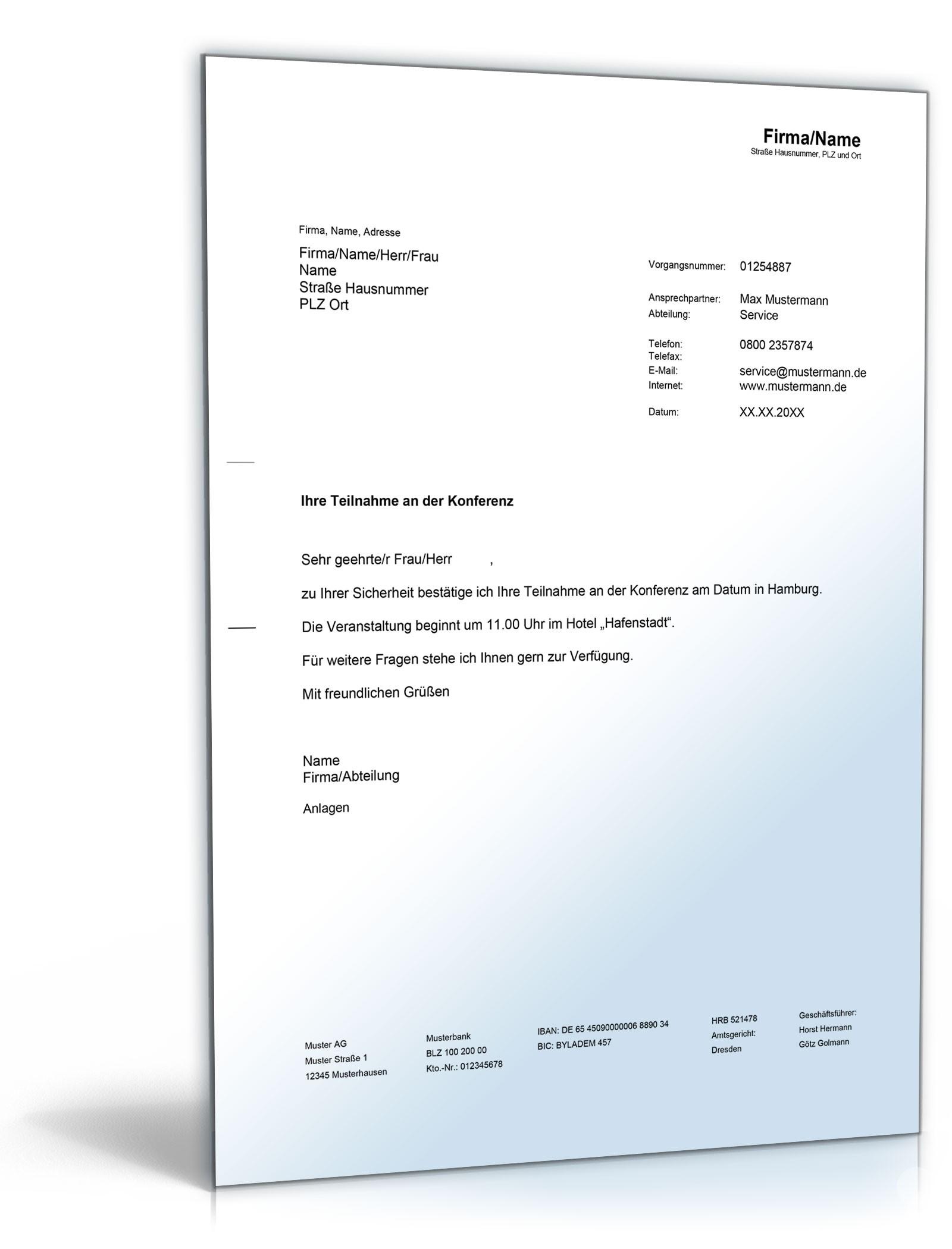 Musterbriefe Geschäftsbriefe : Bestätigung konferenzteilnahme vorlage zum download