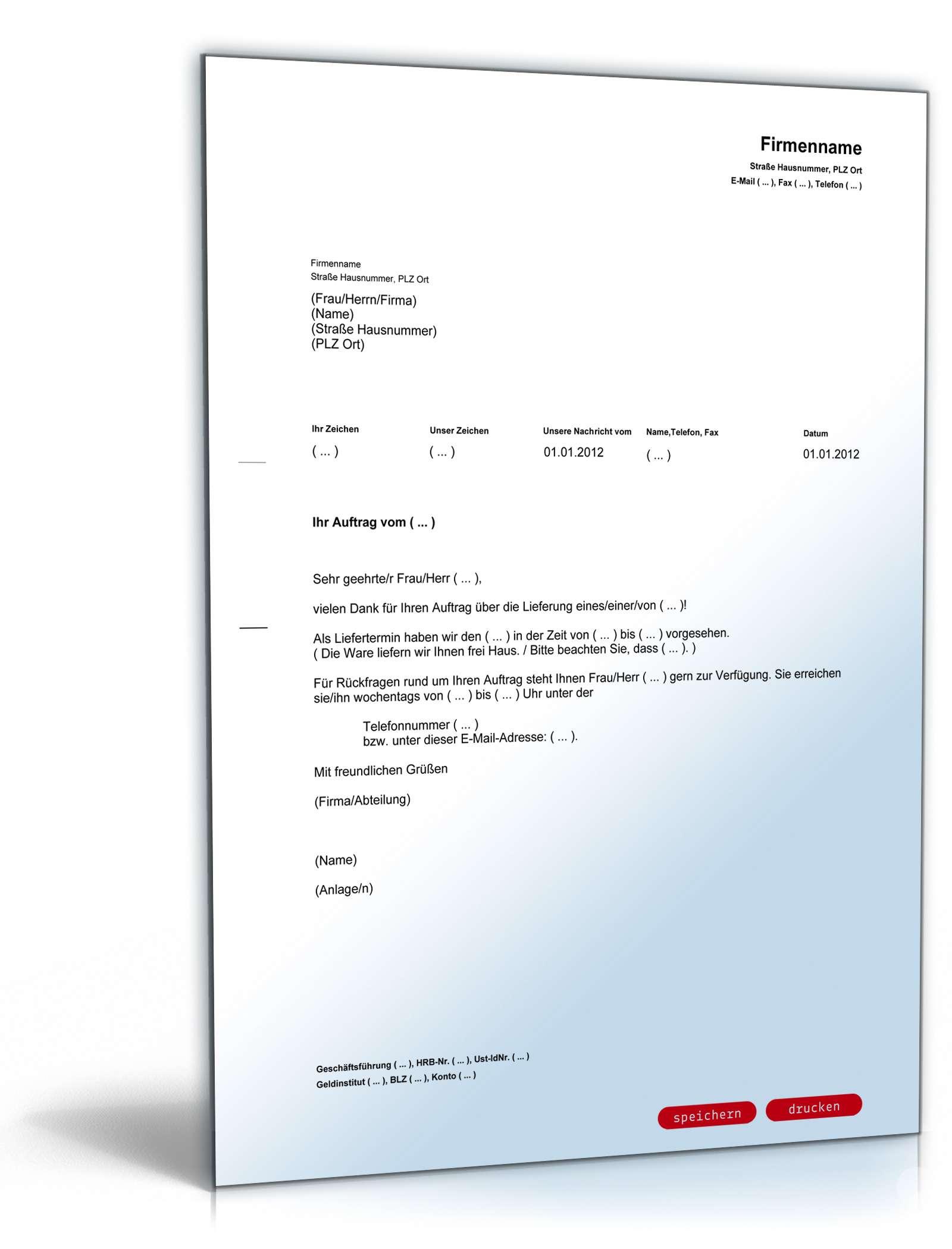 auftragsbesttigung mit liefertermin - Auftragsbestatigung Muster Kostenlos