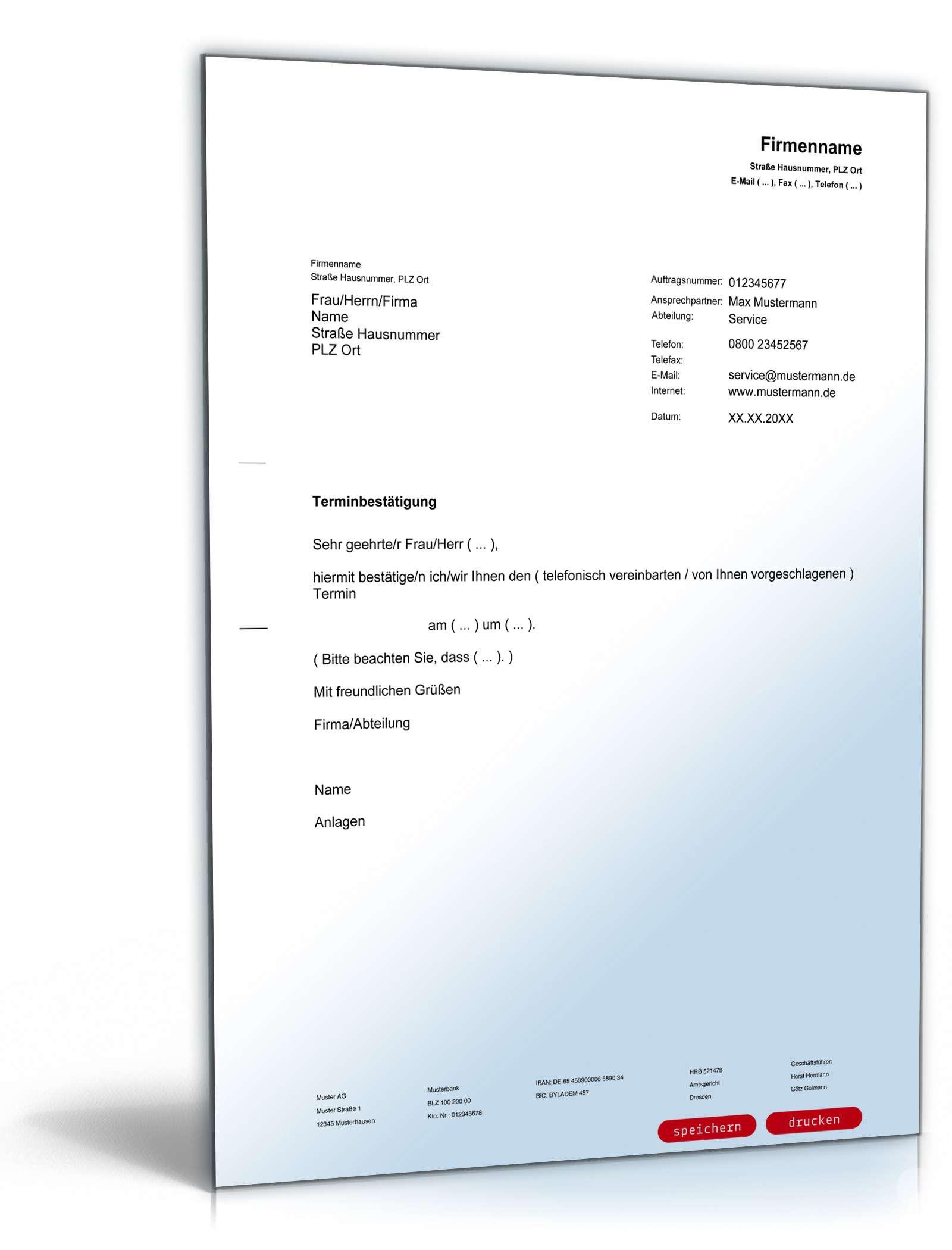Musterbriefe Geschäftsbriefe : Terminbestätigung editierbares muster zum download