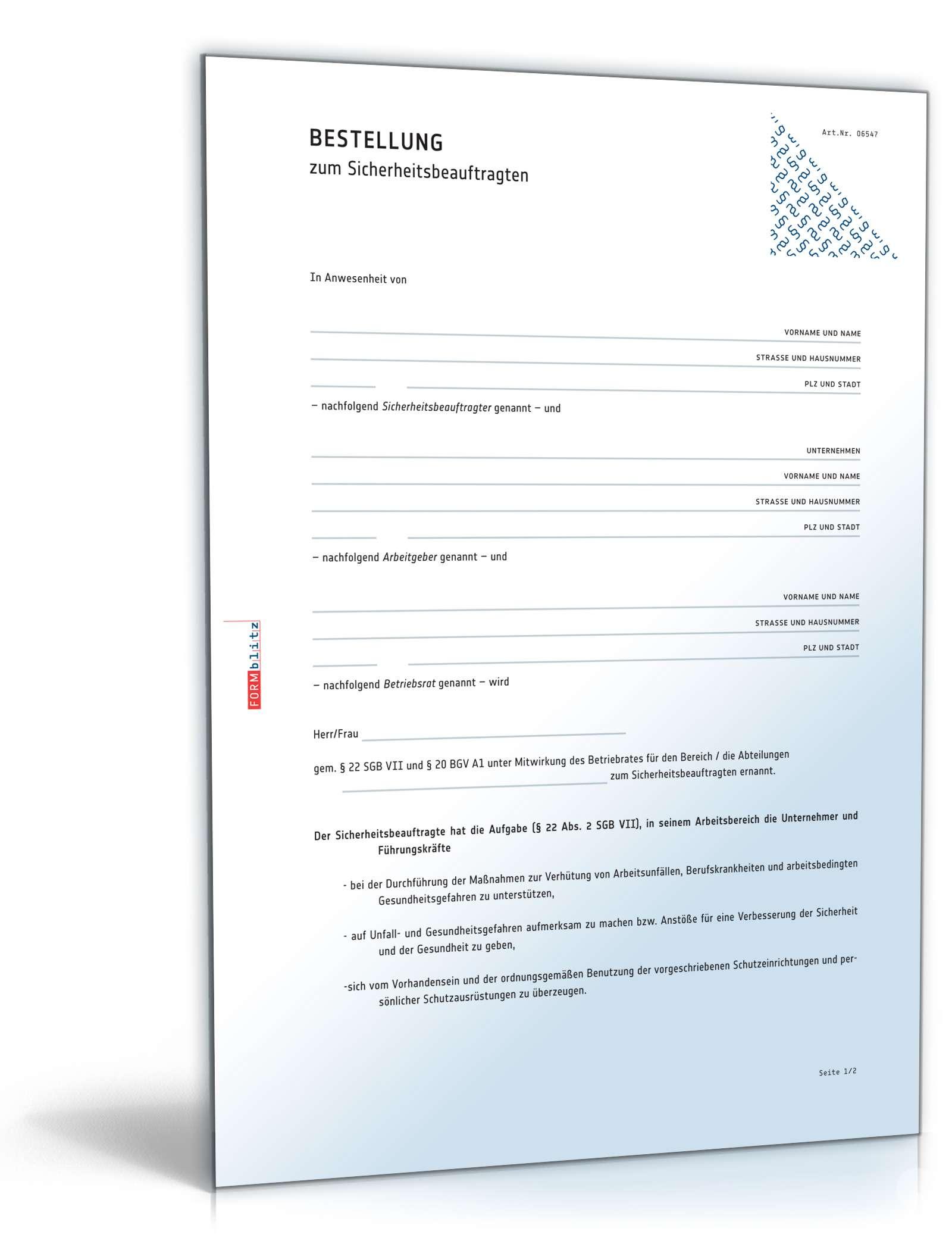 Bestellung Sicherheitsbeauftragter Muster Zum Download