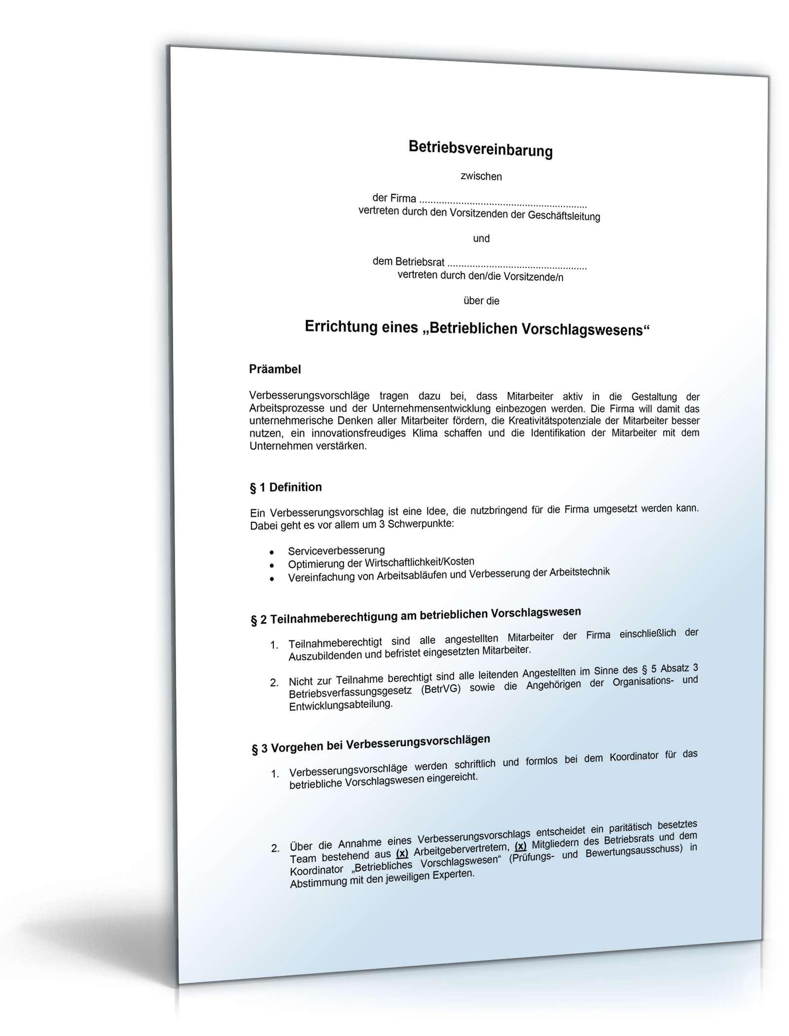 betriebsvereinbarung vorschlagswesen - Muster Betriebsvereinbarung