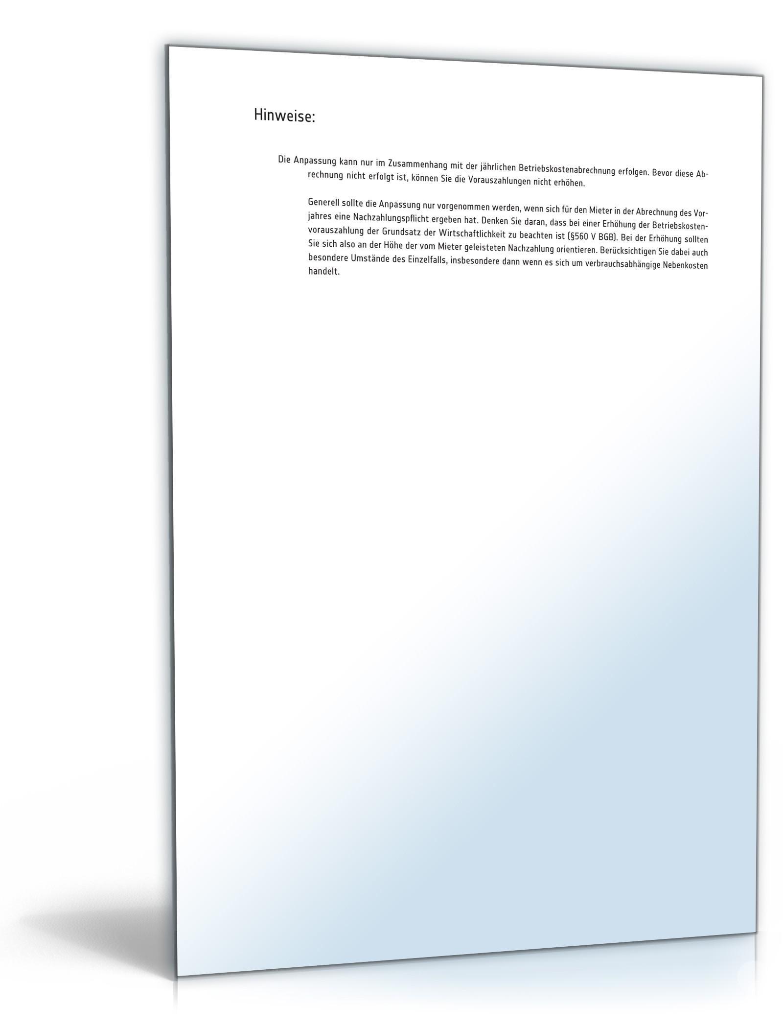 Anpassung Betriebskostenvorauszahlung Muster Zum Download
