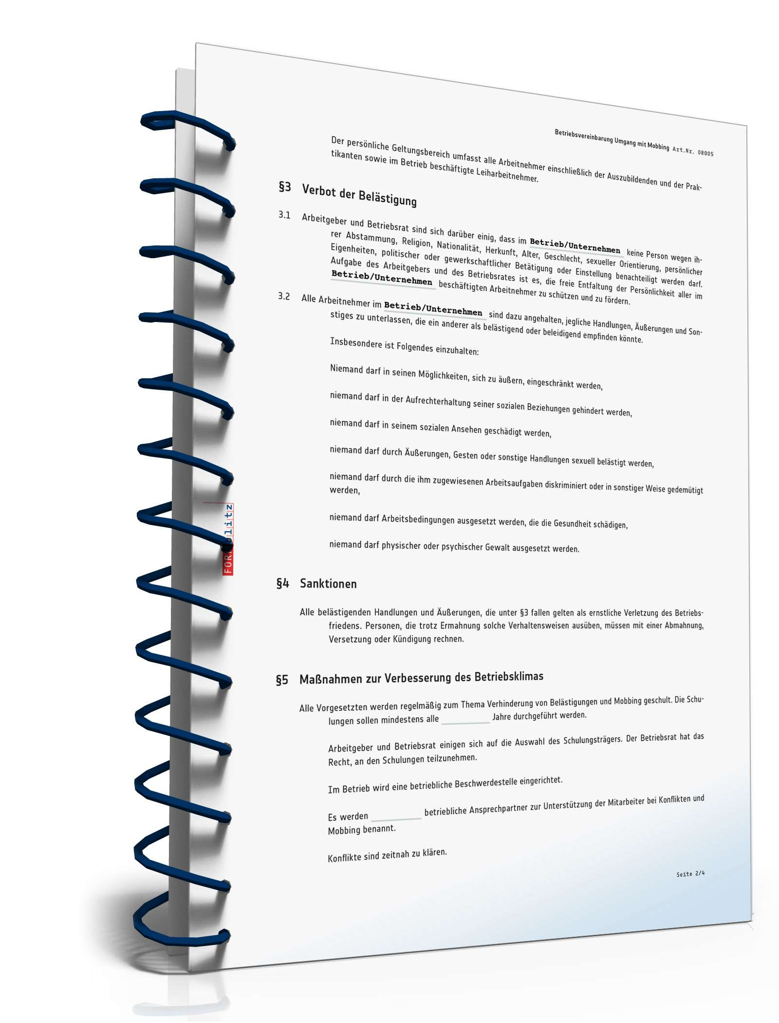 Betriebsvereinbarung Umgang Mobbing Vorlage Zum Download