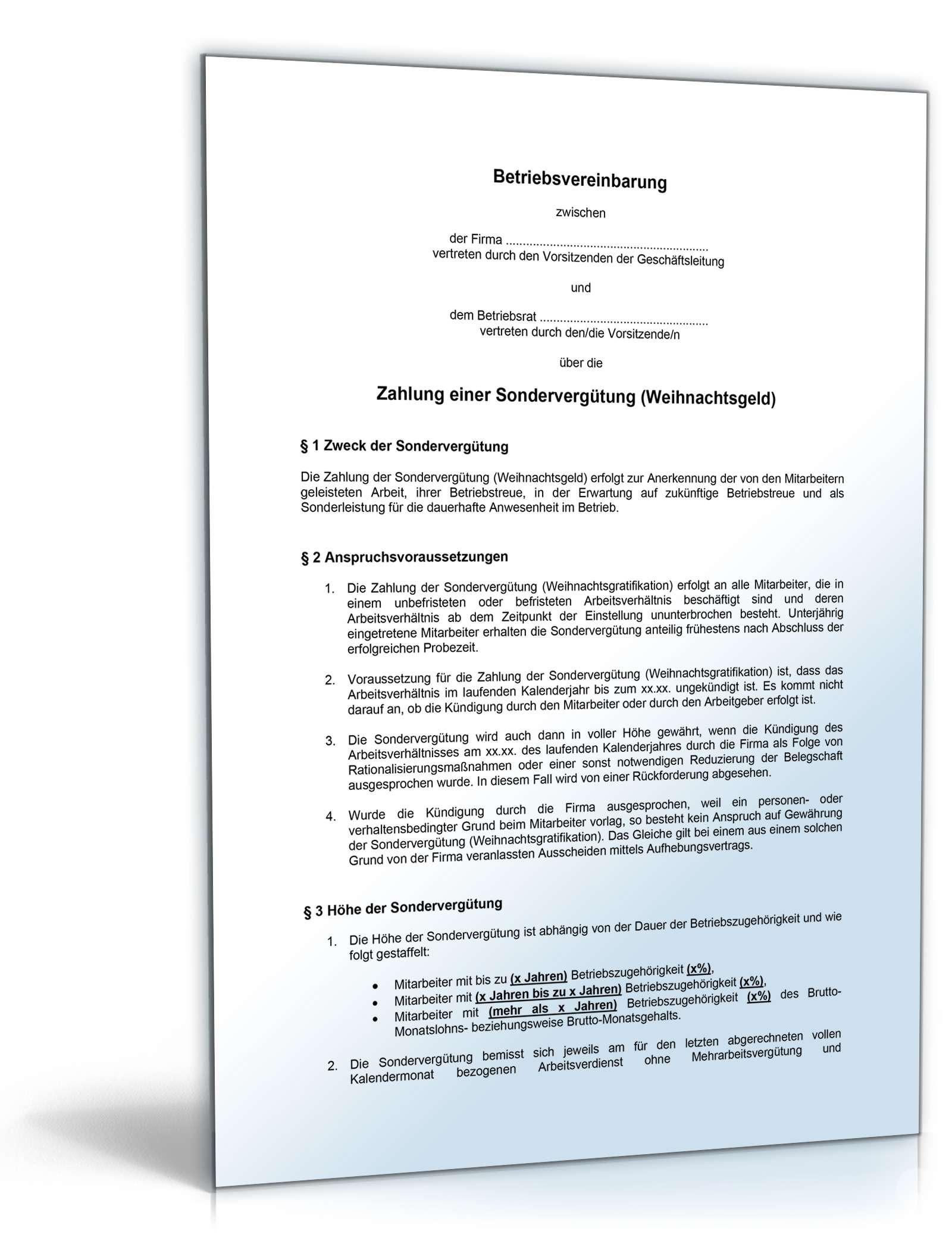 betriebsvereinbarung zahlung einer sondervergtung - Muster Betriebsvereinbarung