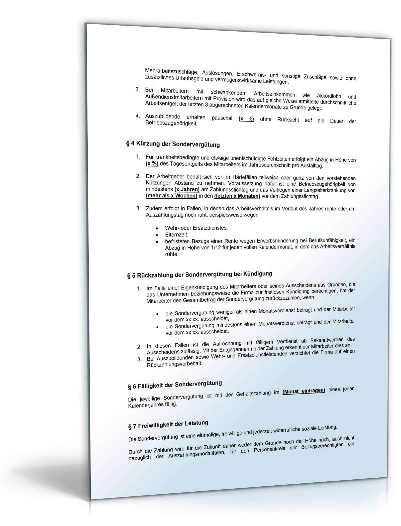 Betriebsvereinbarung Weihnachtsgeld Muster Zum Download