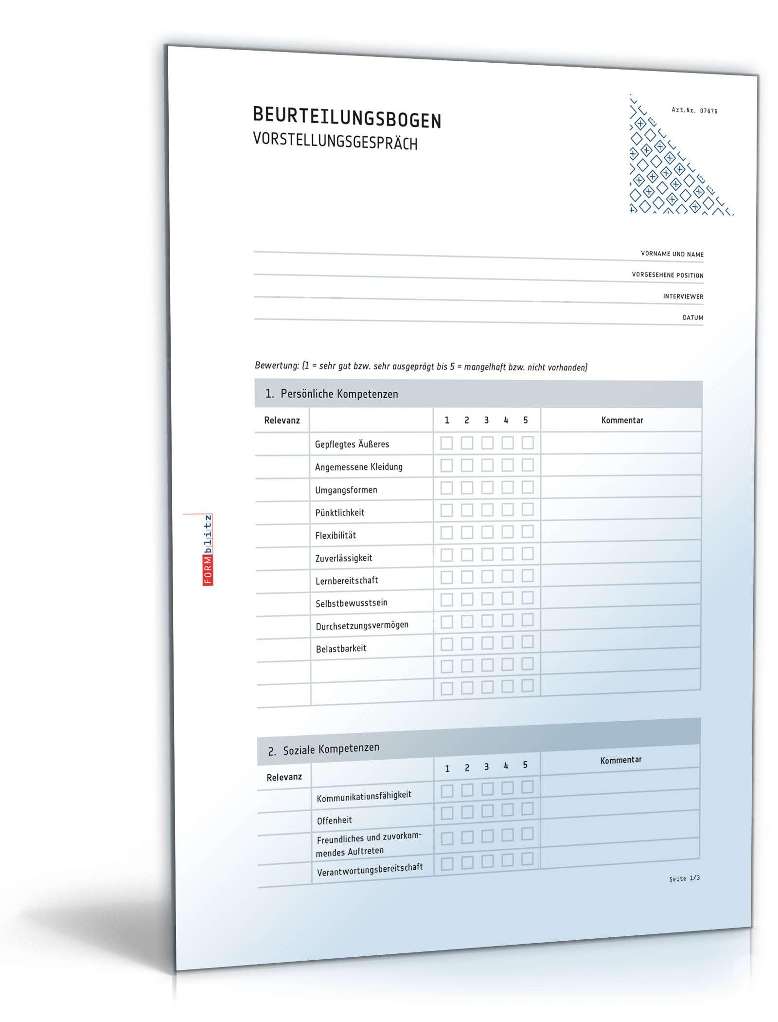 Musterbriefe Kostenlos Geschäftsbriefe : Auswertung vorstellungsgespräch vorlage zum download
