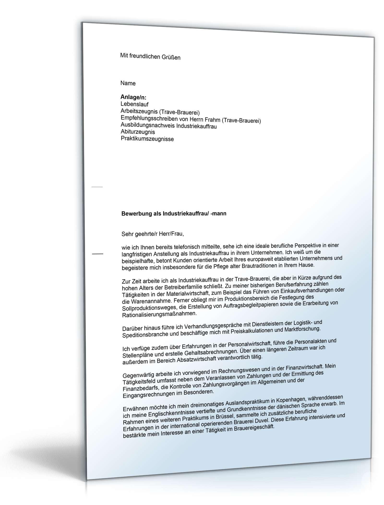 ... Anschreiben Bewerbung Industriekauffrau   Muster zum Download ...