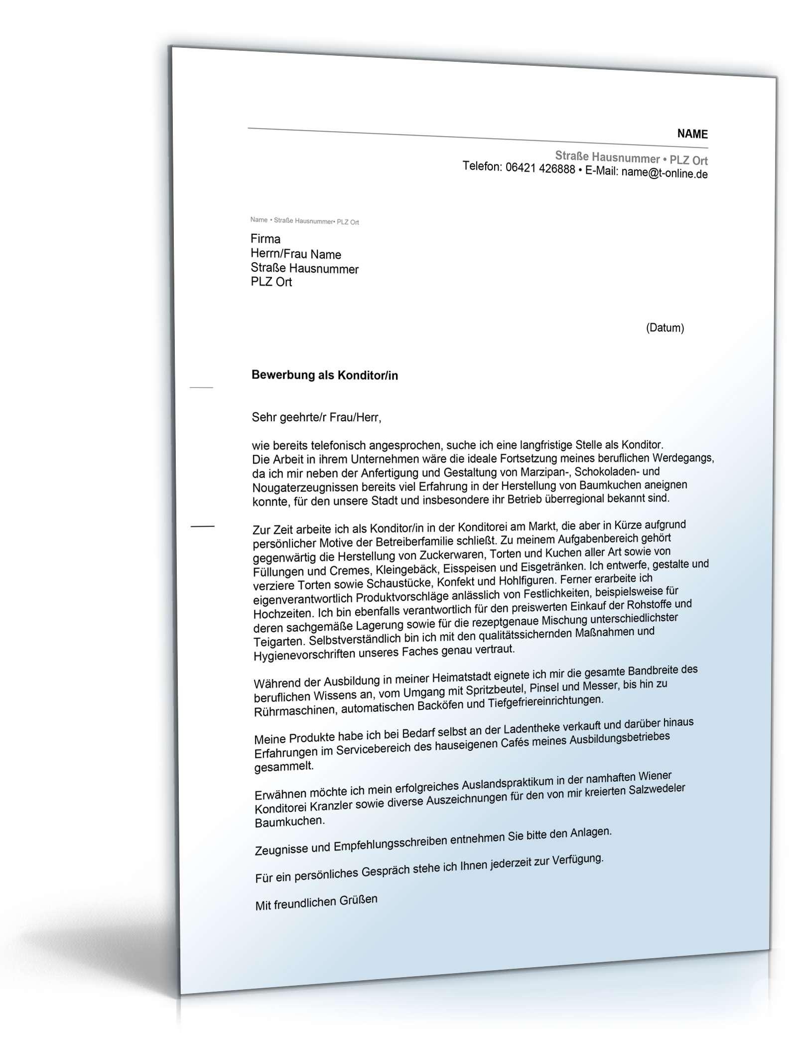 bewerbung konditor muster Anschreiben Bewerbung Konditor | Muster zum Download