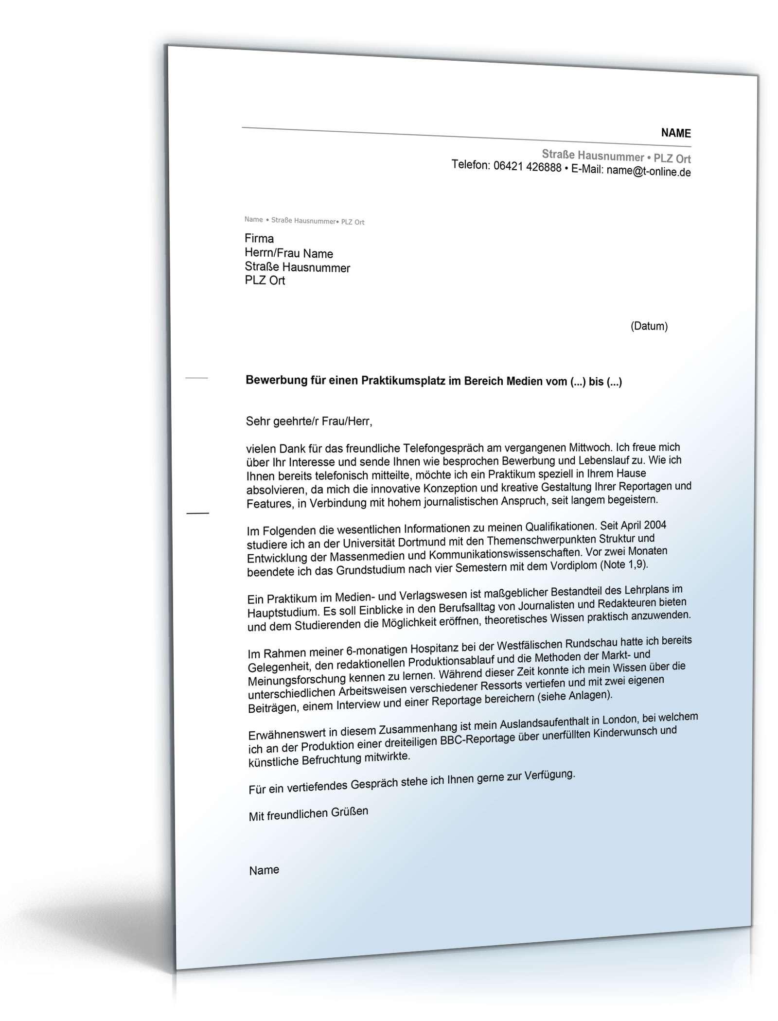 Anschreiben Bewerbung Praktikum Medienbranche Muster Zum Download