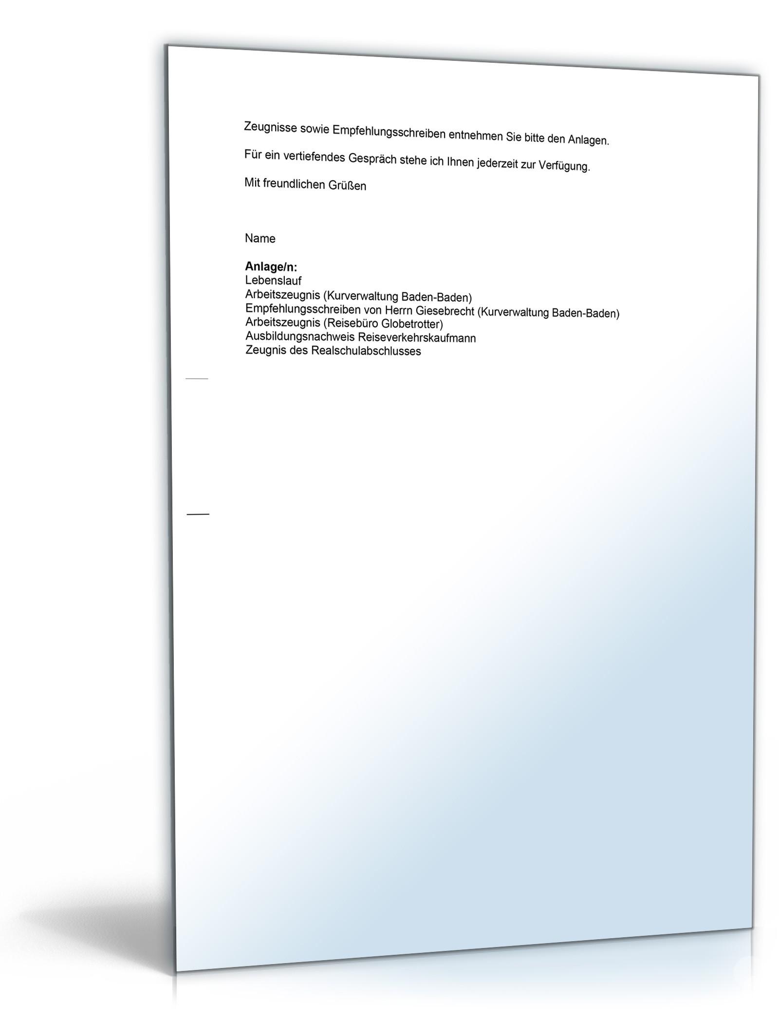 Anschreiben Bewerbung Reiseverkehrskauffrau | Muster zum Download