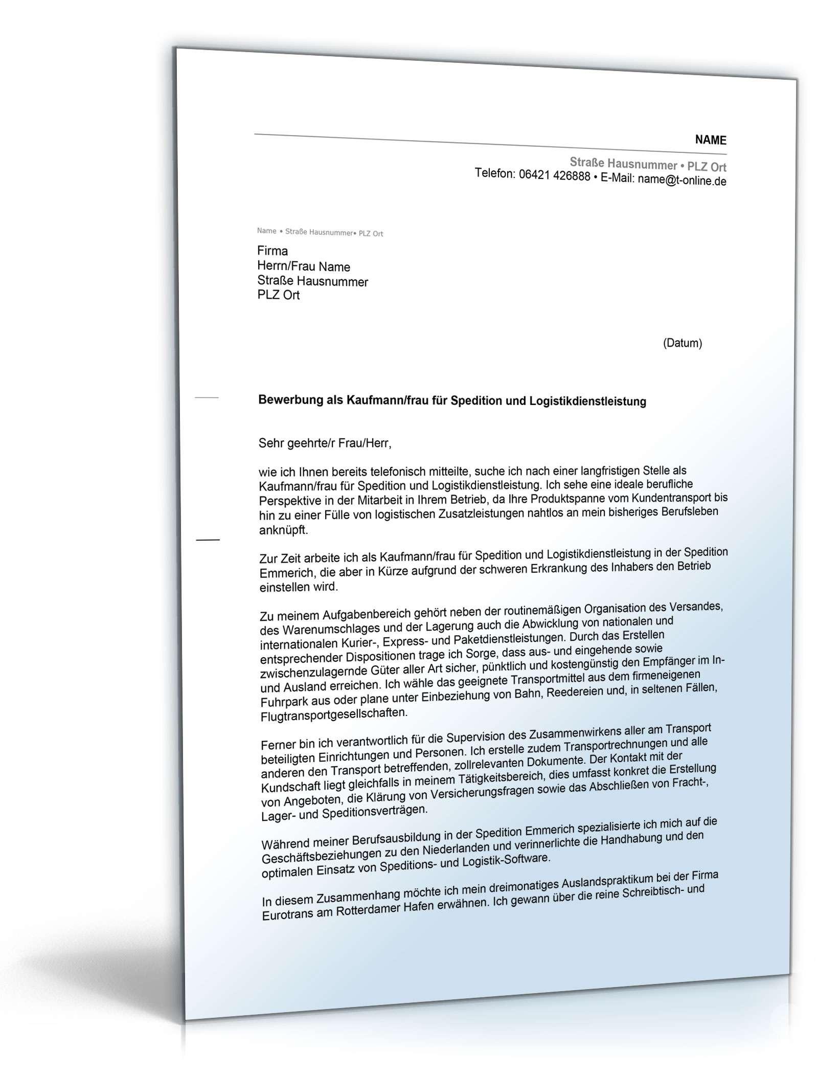 Anschreiben Bewerbung Speditionskaufmann Muster Zum Download