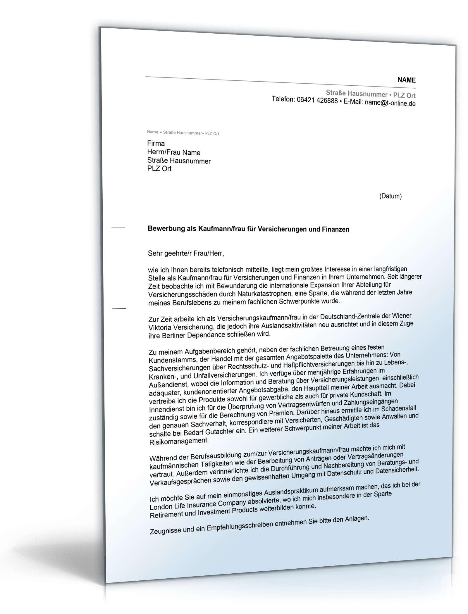 Anschreiben Bewerbung Versicherungskaufmann Muster Zum Download