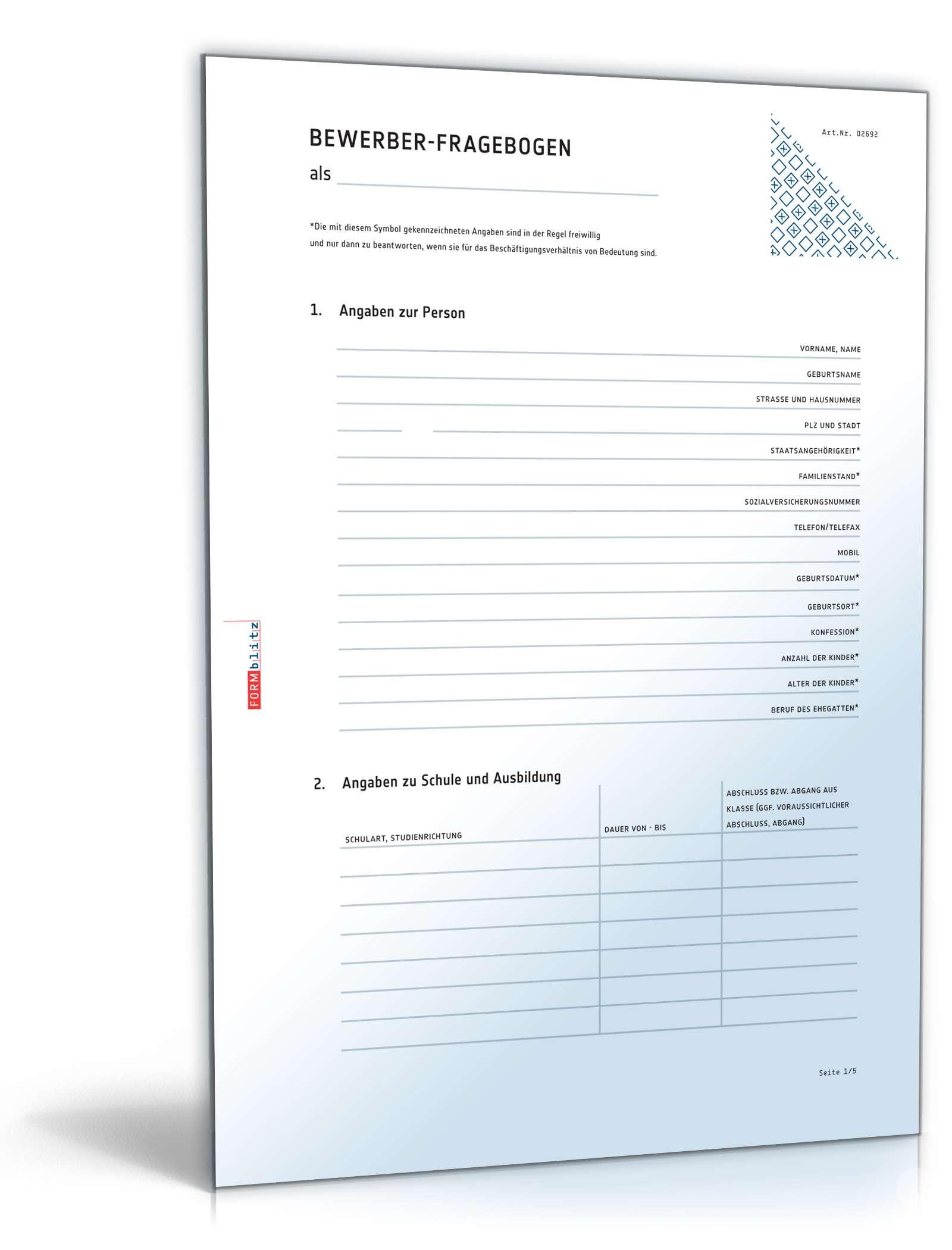 Musterbriefe Kostenlos Geschäftsbriefe : Fragebogen bewerber vorlage zum download