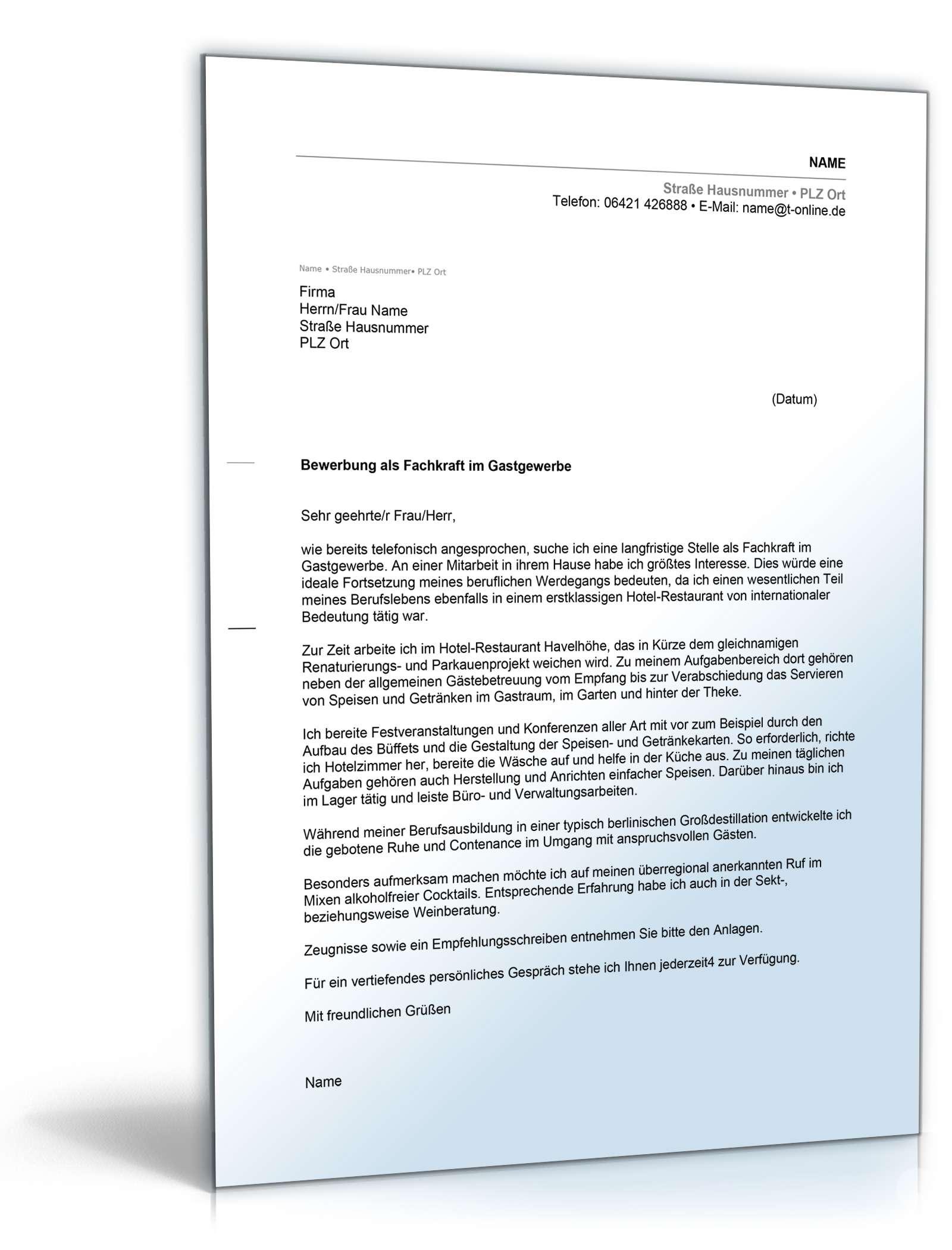 Anschreiben Bewerbung Hotel Und Gastgewerbe Muster Zum Download