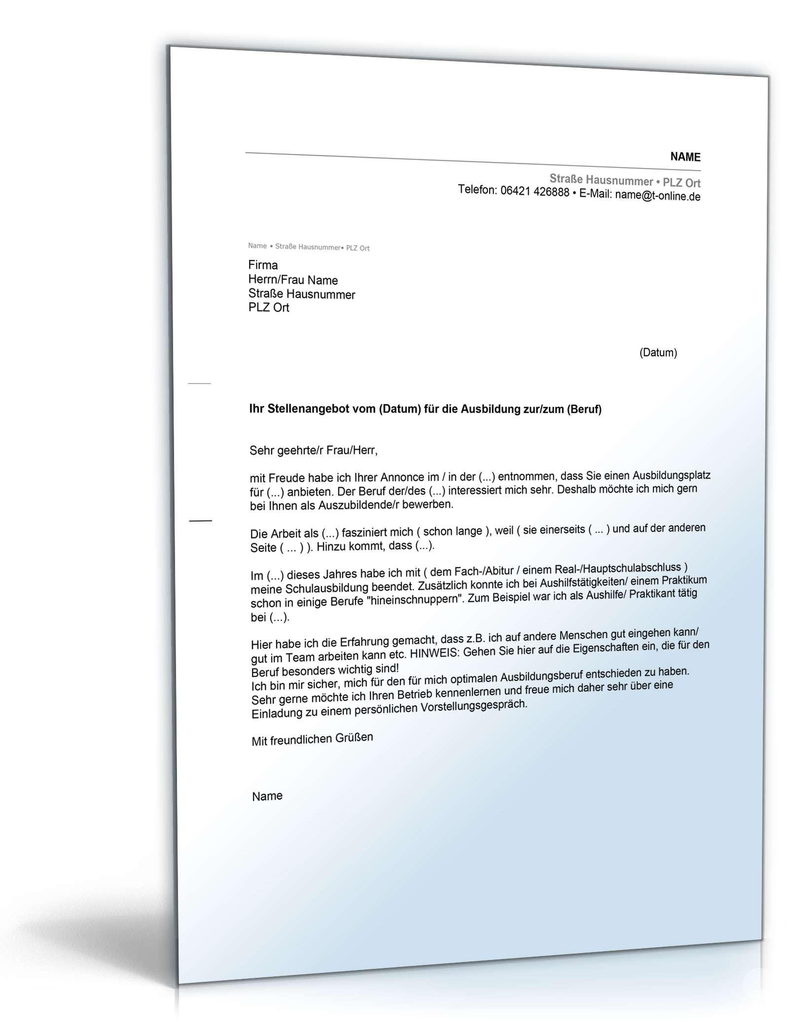 Bewerbung Ausbildungsplatz Vorlage Zum Download