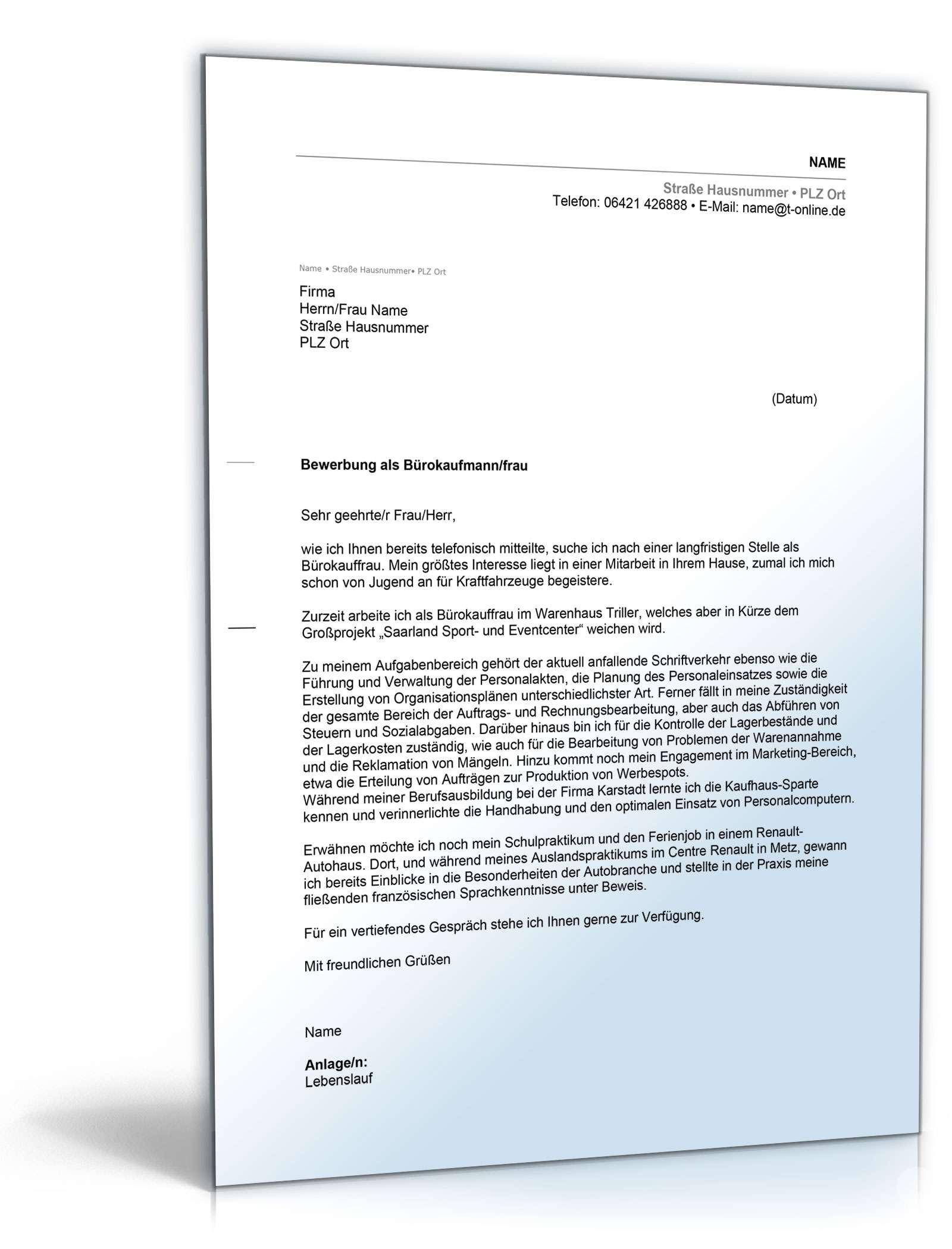 Anschreiben Bewerbung Bürokauffrau | Muster zum Download