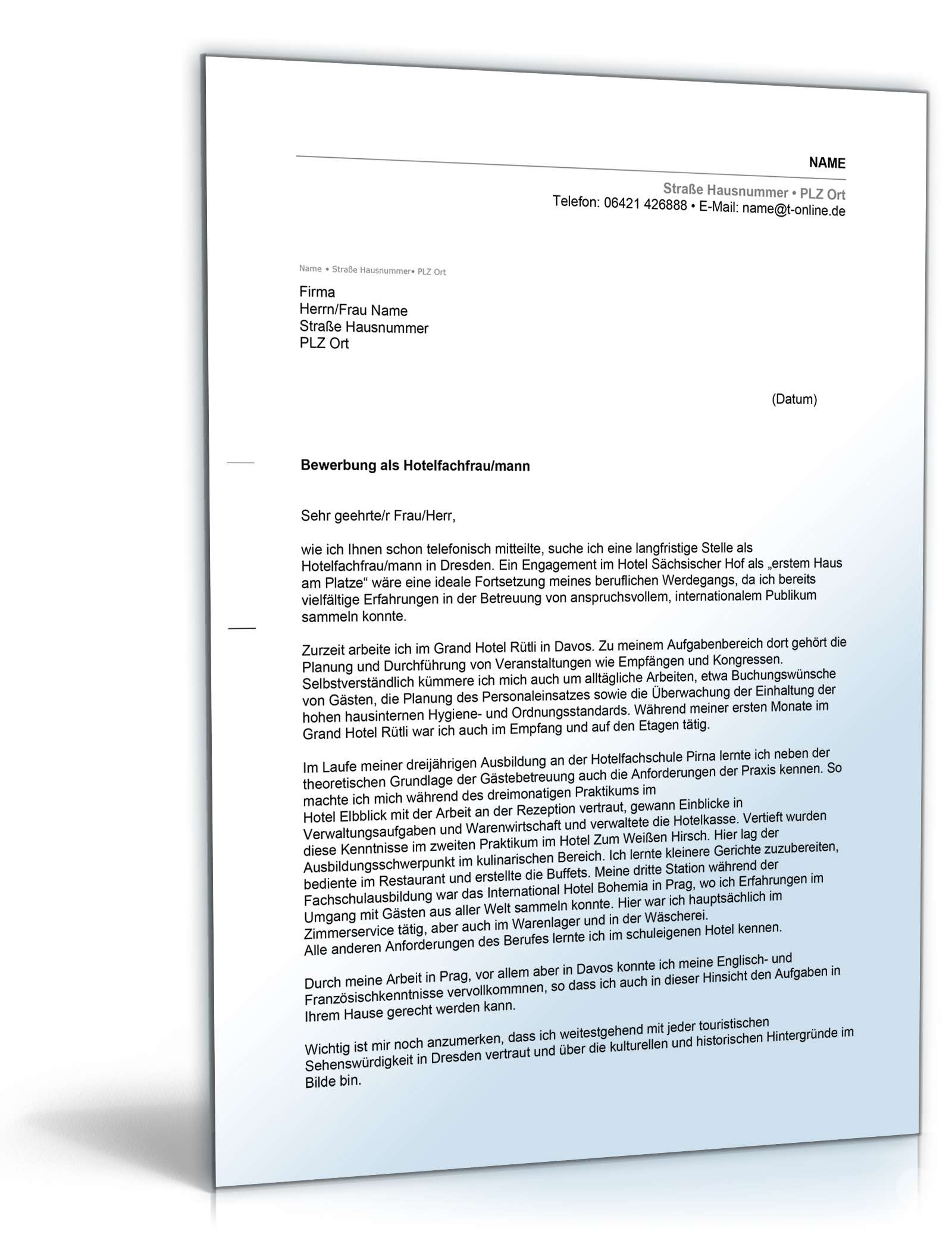 Brief Für Wohnungsbewerbung : Anschreiben bewerbung fachschulabschluss muster zum download