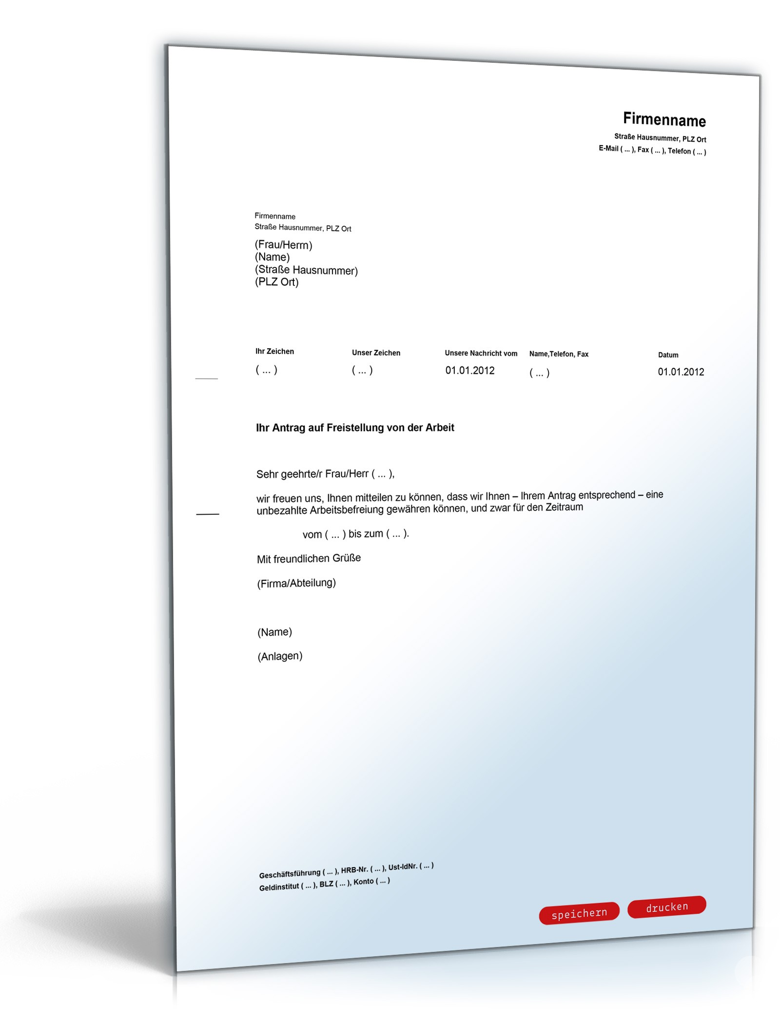 Musterbriefe Geschäftsbriefe : Unbezahlte freistellung von der arbeit muster zum download