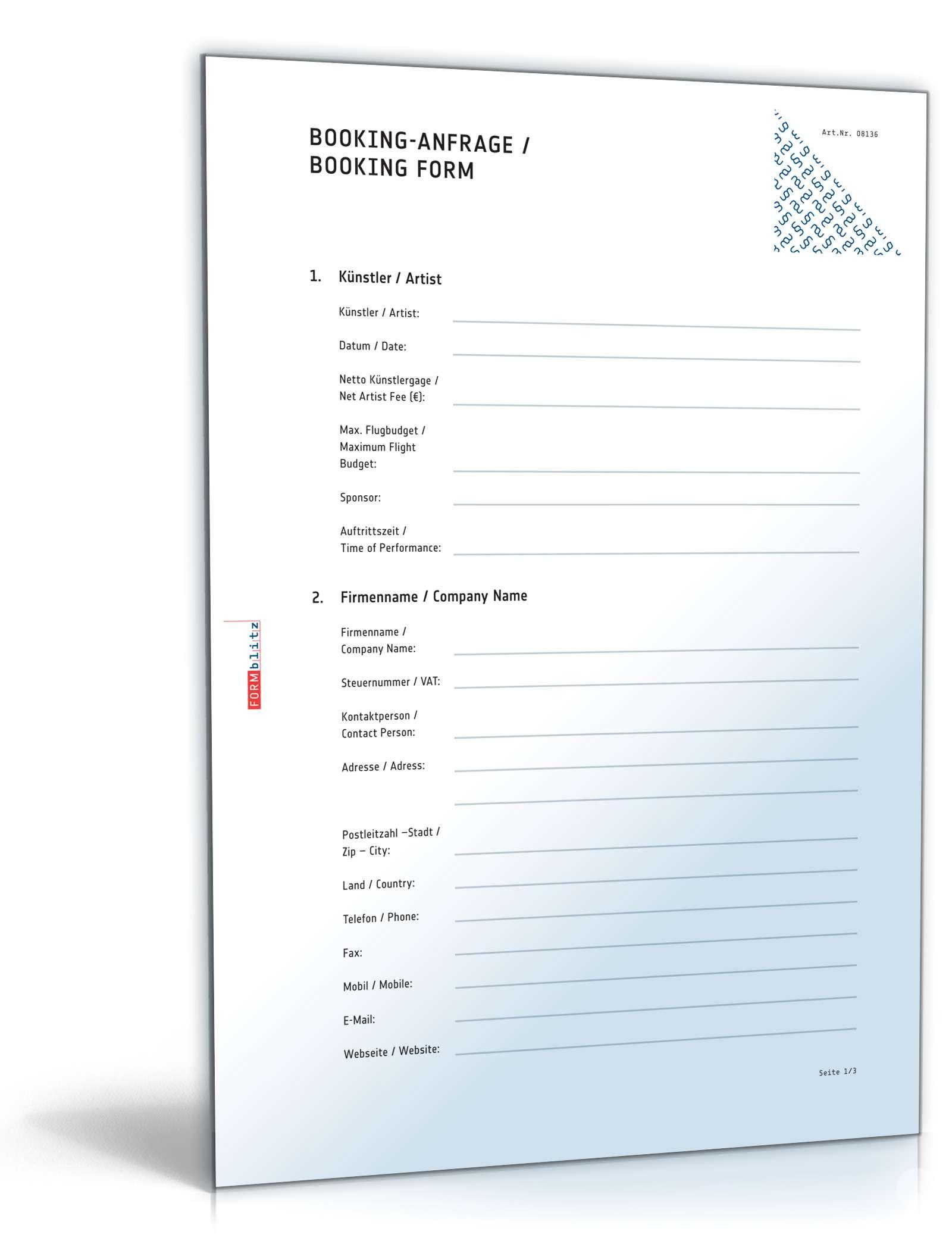Booking Anfrage Deutschenglisch Vorlage Zum Download