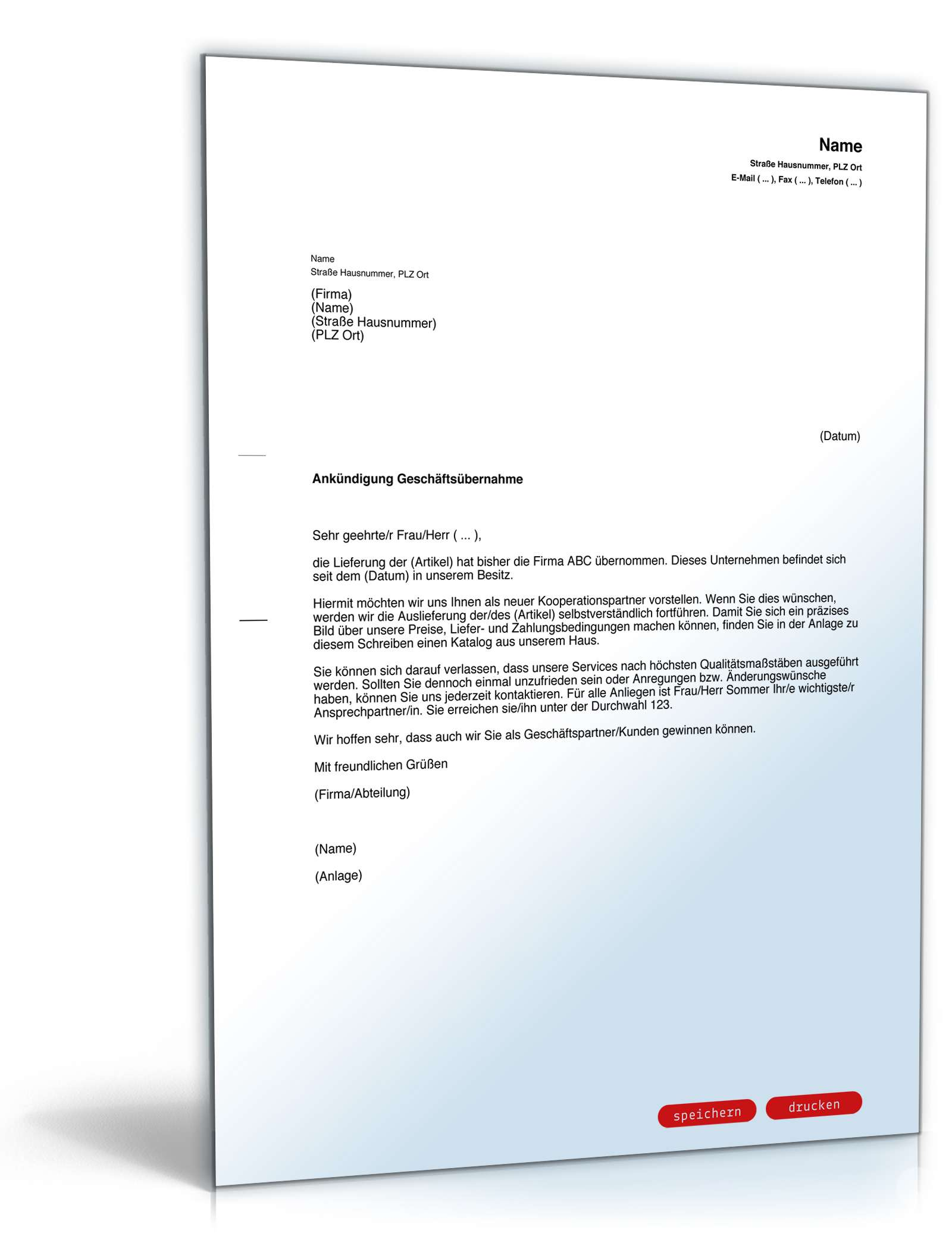 Ankündigung Geschäftsübernahme Vorlage Zum Download