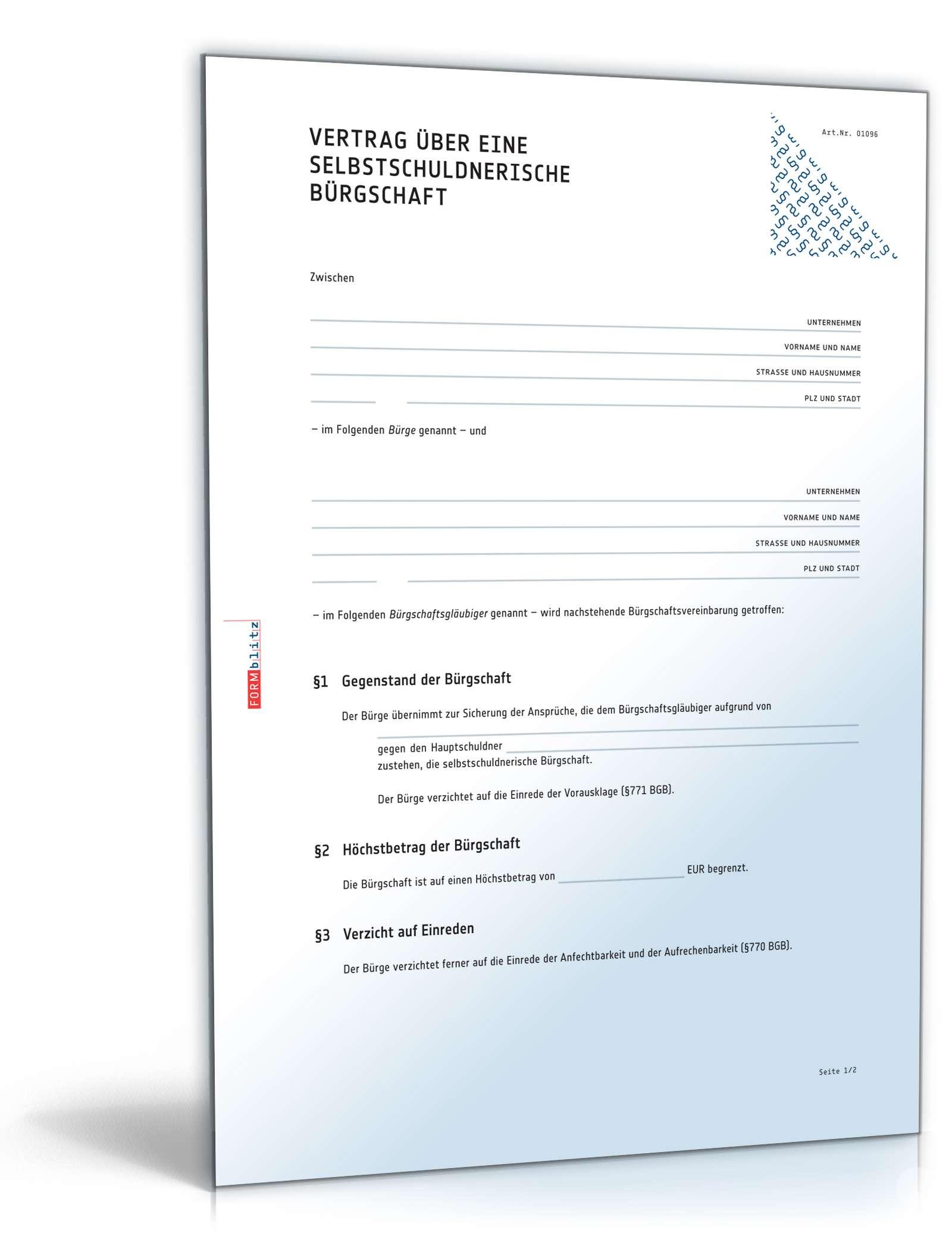 brgschaftsvertrag rechtssicheres muster zum download - Brgschaft Muster