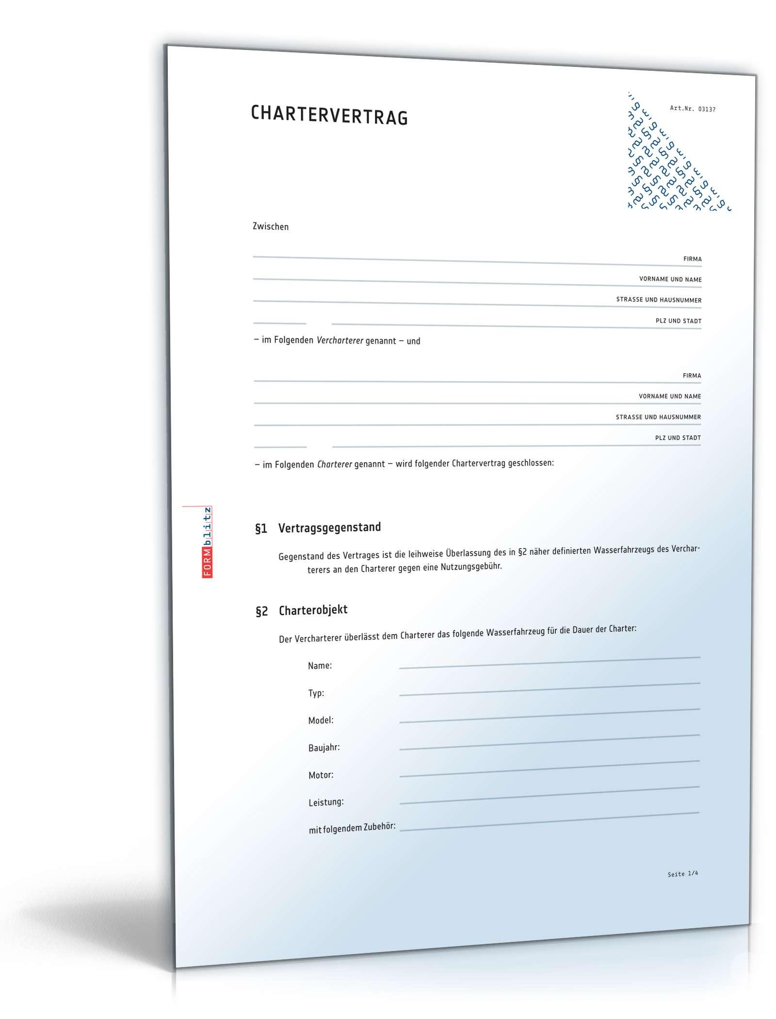 Küche Im Mietvertrag Zur Nutzung Überlassen ~ chartervertrag anwaltsgeprüftes muster zum download