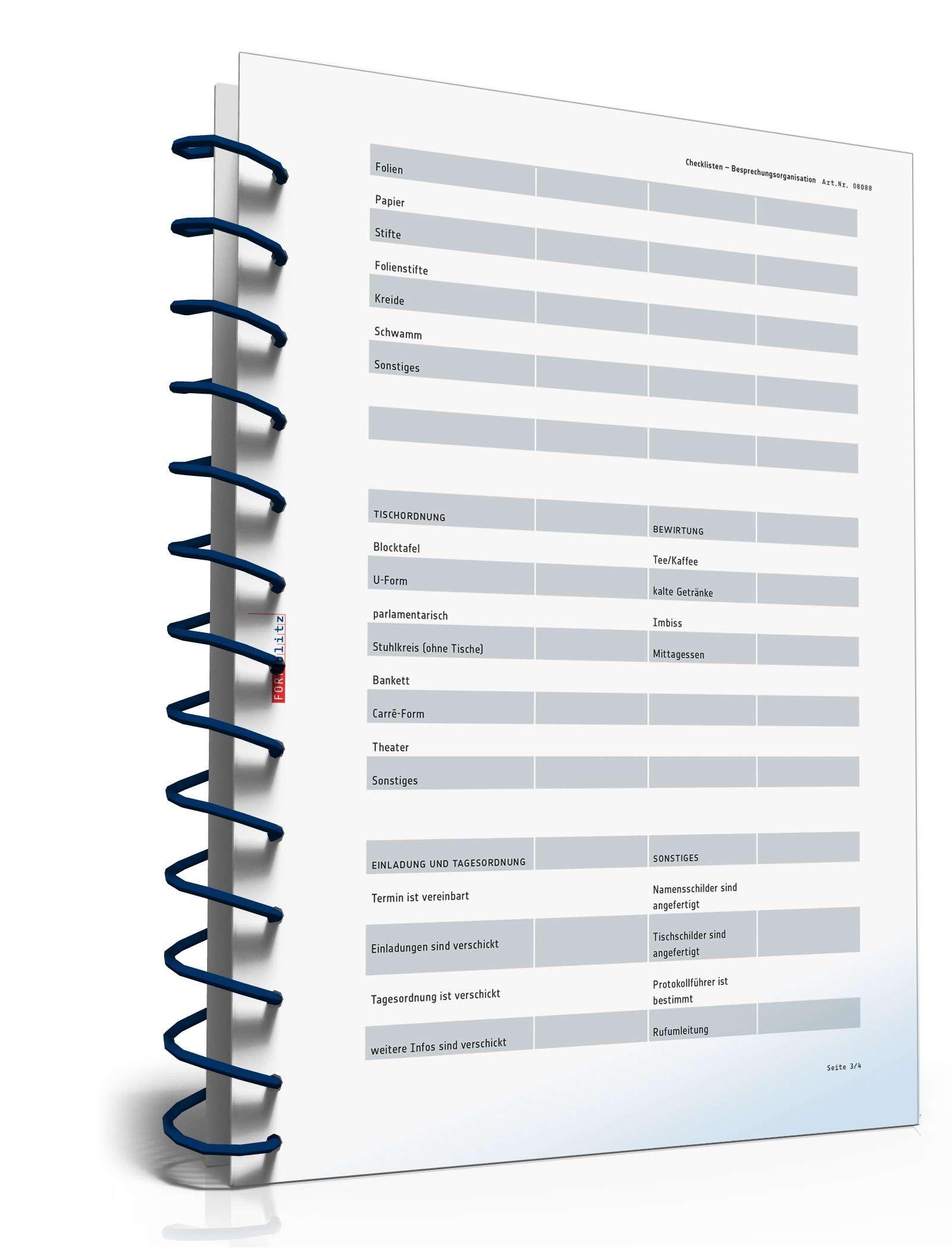 checkliste besprechungsorganisation | muster zum download, Einladung