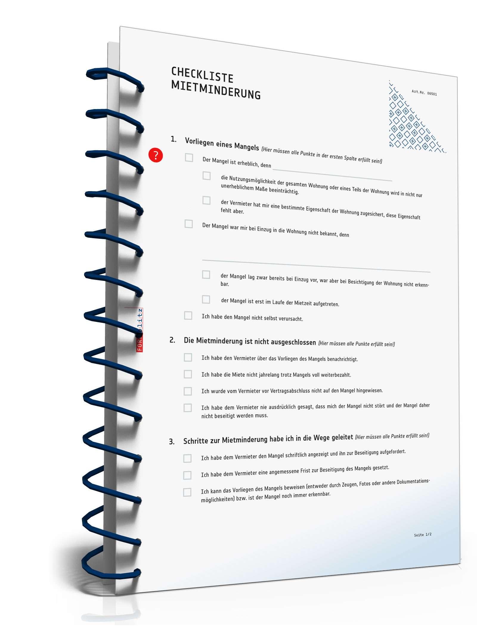 Checkliste Mietminderung Muster Zum Download