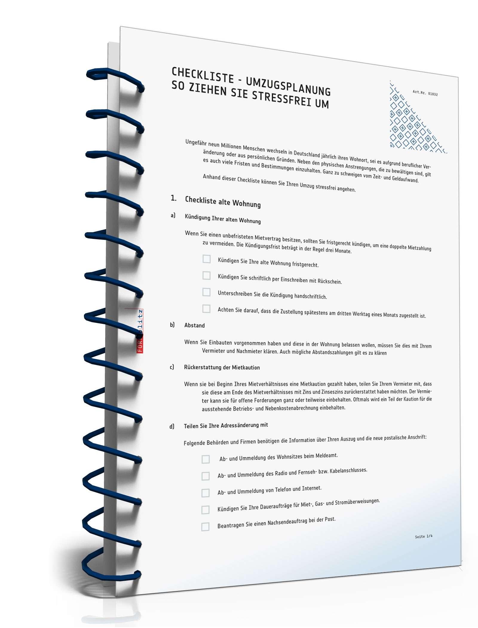 Umzugsorganisation Checkliste checkliste umzugsplanung muster zum