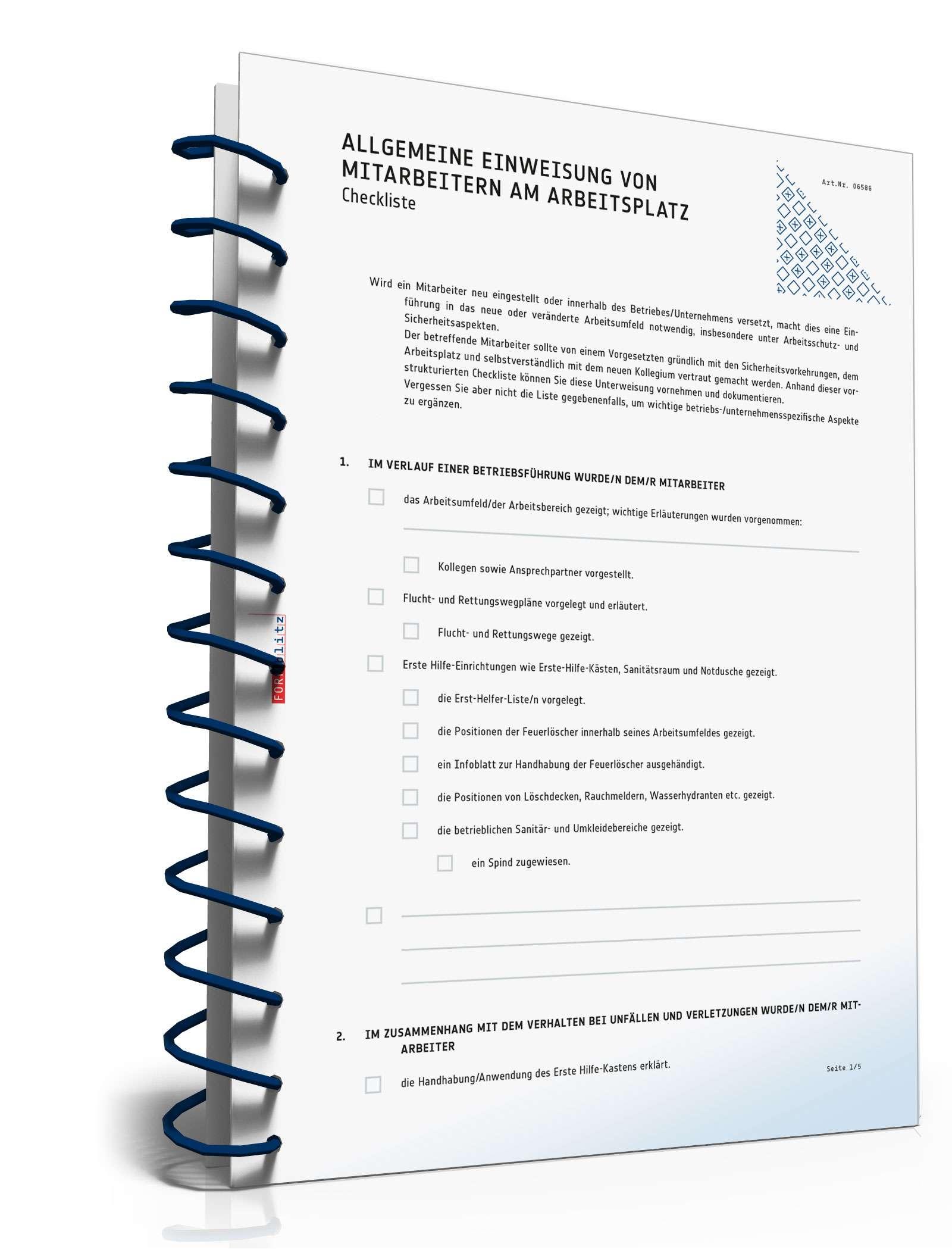 Checkliste Unterweisung Mitarbeiter | Muster zum Download