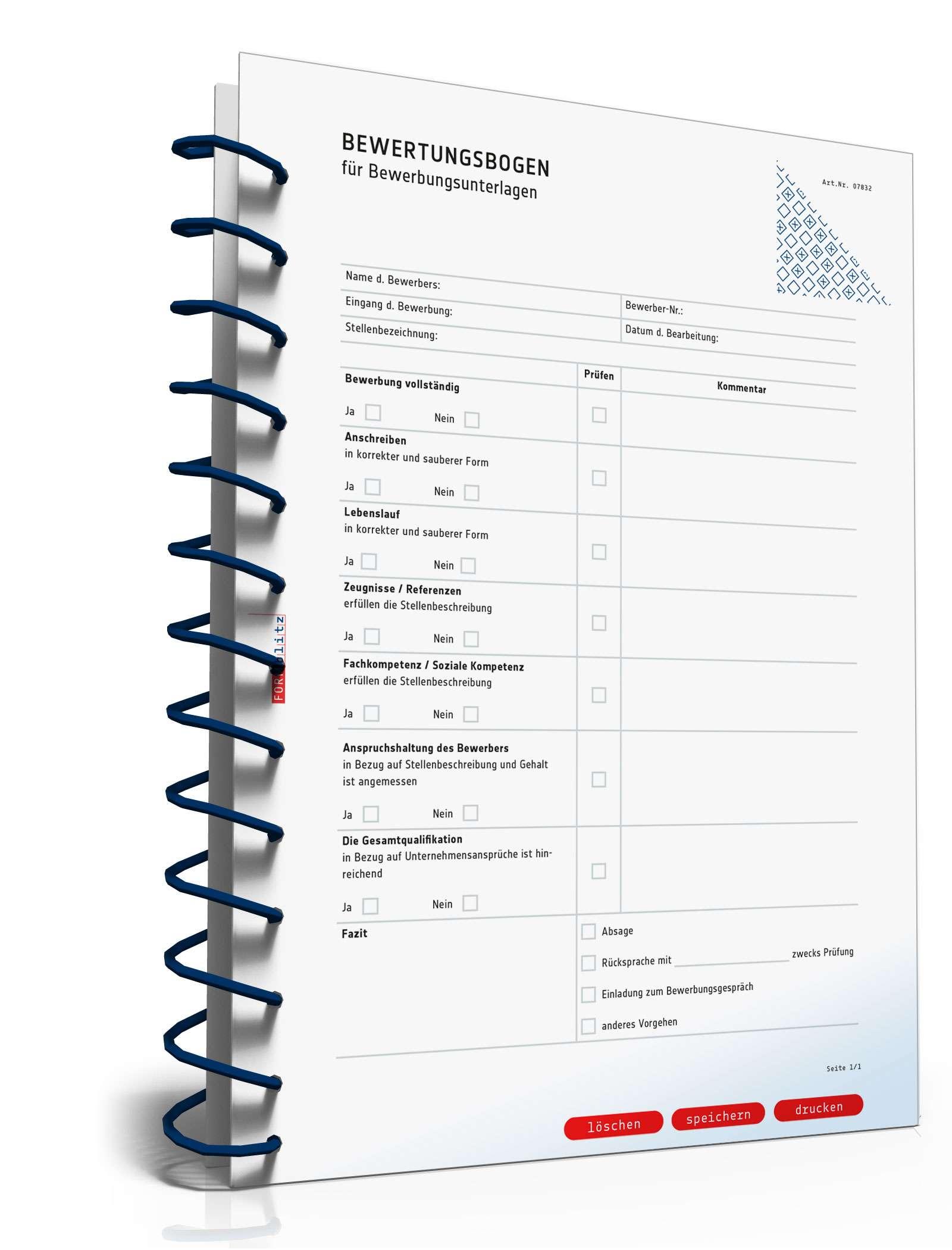 Bewertungsbogen Bewerbungsunterlagen Muster Zum Download