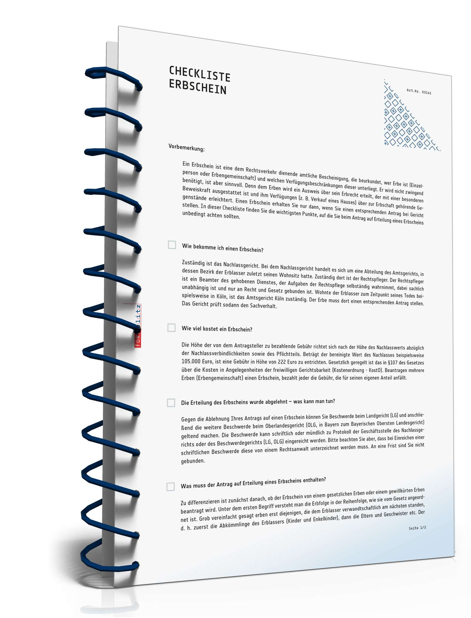 checkliste fr einen antrag auf erbschein - Erbschein Beantragen Muster