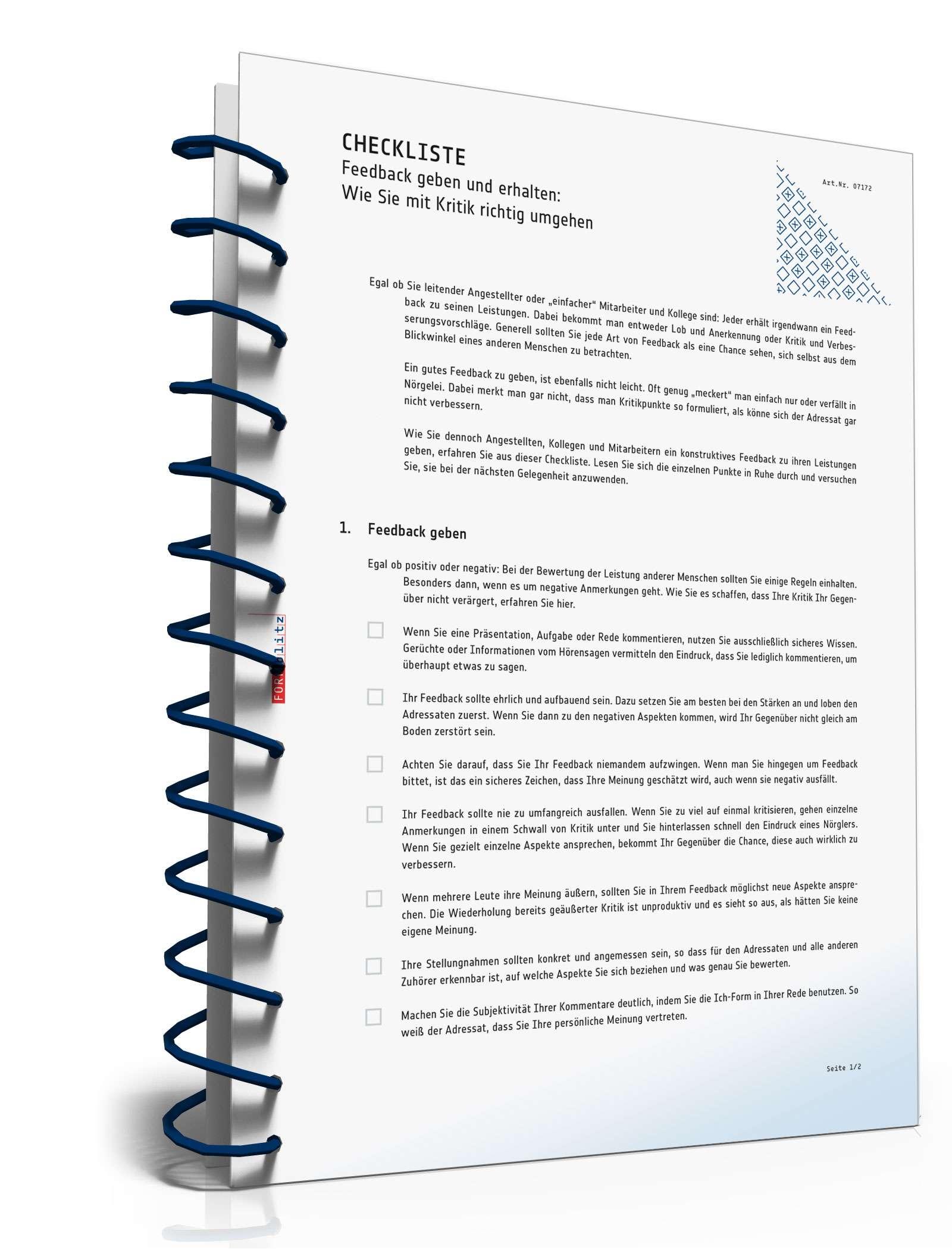 Checkliste Feedback-Regeln | Muster zum Download